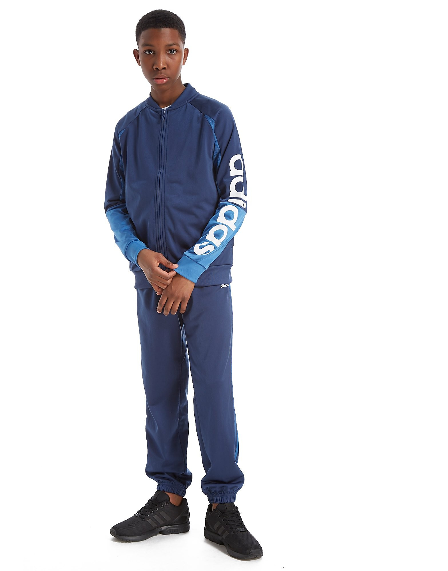 adidas Linear Sleeve Poly Tracksuit Junior