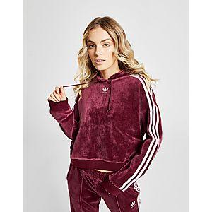 adidas Originals 3-Stripes Velvet Crop Overhead Huppari Naiset ... 3f008158aa