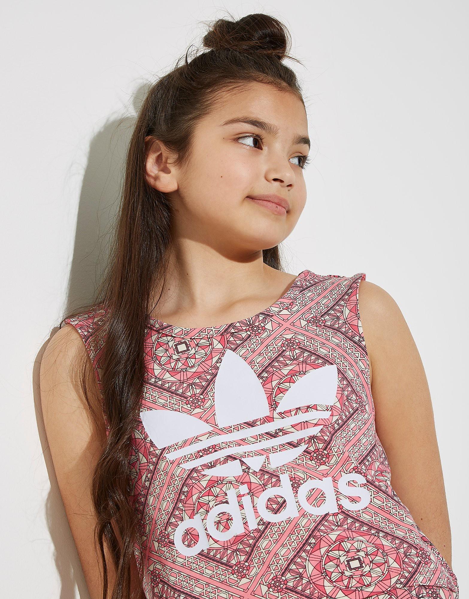 adidas Originals Girls' Geo All Over Print Crop Vest Junior
