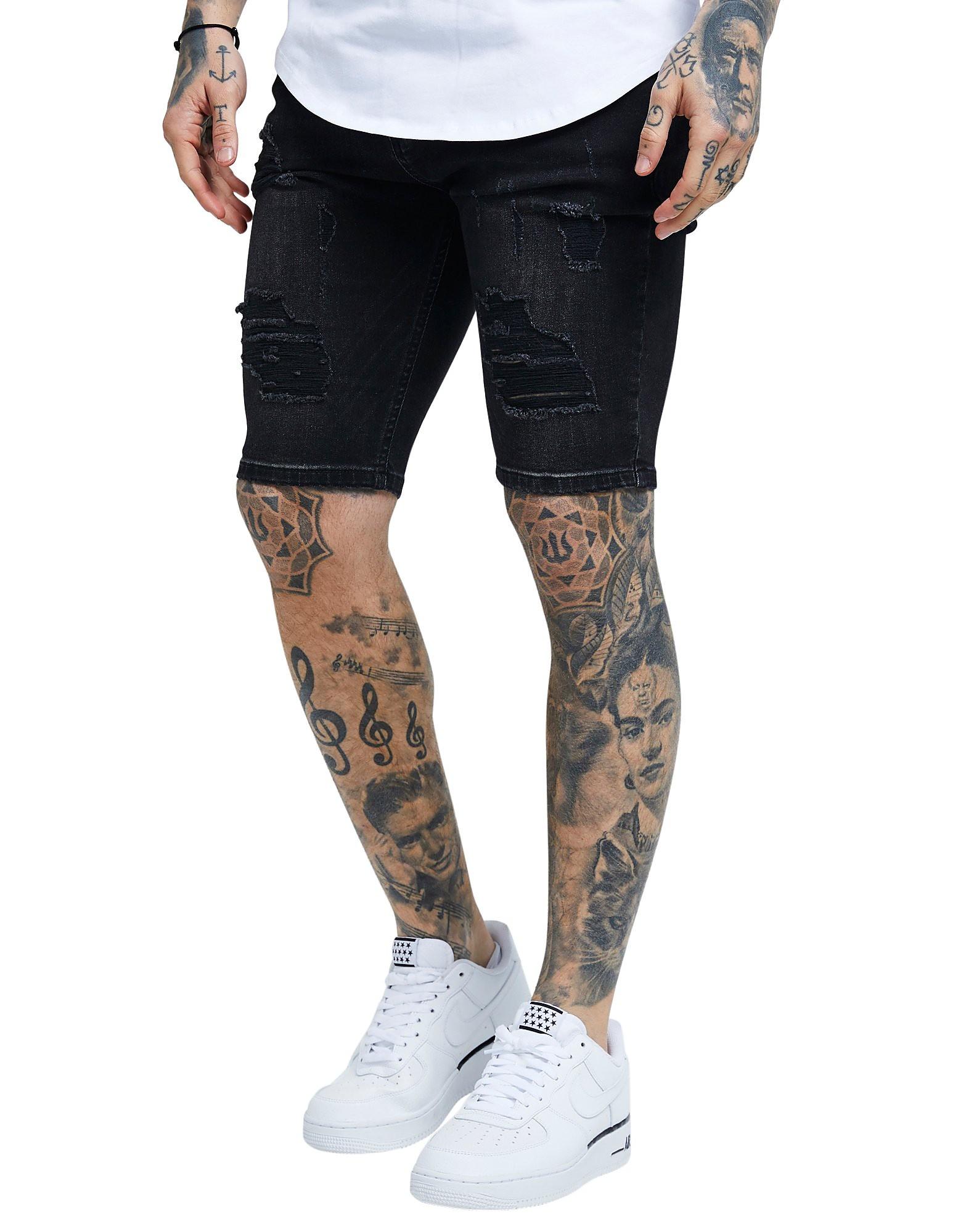 SikSilk Ripped Denim Shorts