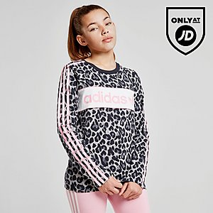 adidas Originals Girls  Long Sleeve Leopard T-Shirt Junior ... d24f9e95b67a