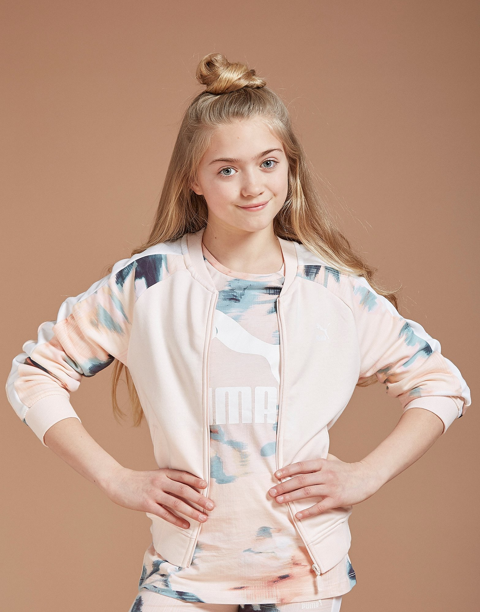 PUMA Girls' Floral Sleeve Track Top Junior