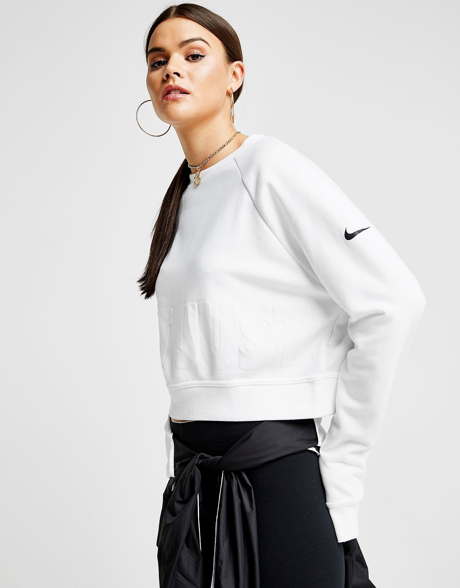 Nike Training Crop Just Do It Crew Sweatshirt Dames