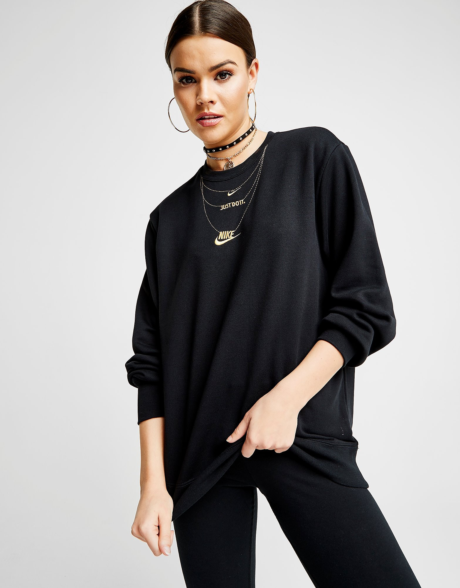 Nike Gold Necklace Crew Sweatshirt Dames