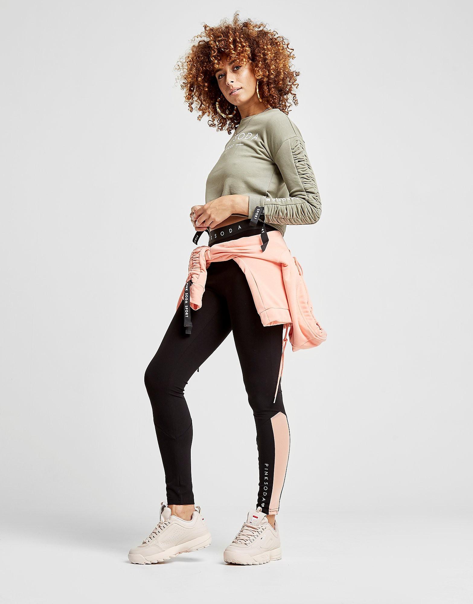 Pink Soda Sport Gather Sleeve Crop Crew Sweatshirt Dames