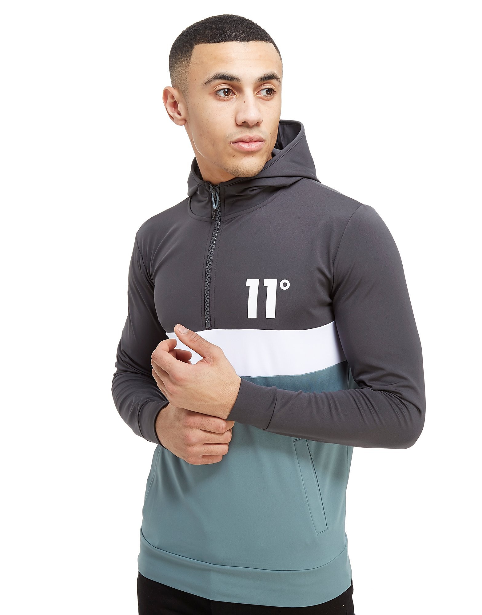 11 Degrees entral Panel 1/4 Zip Hoodie Heren