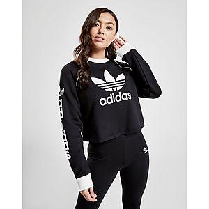 meet 3ecd4 1be25 adidas Originals Linear Crop Crew Sweatshirt ...