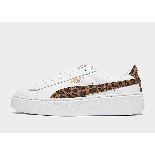 puma basket platform white leopard