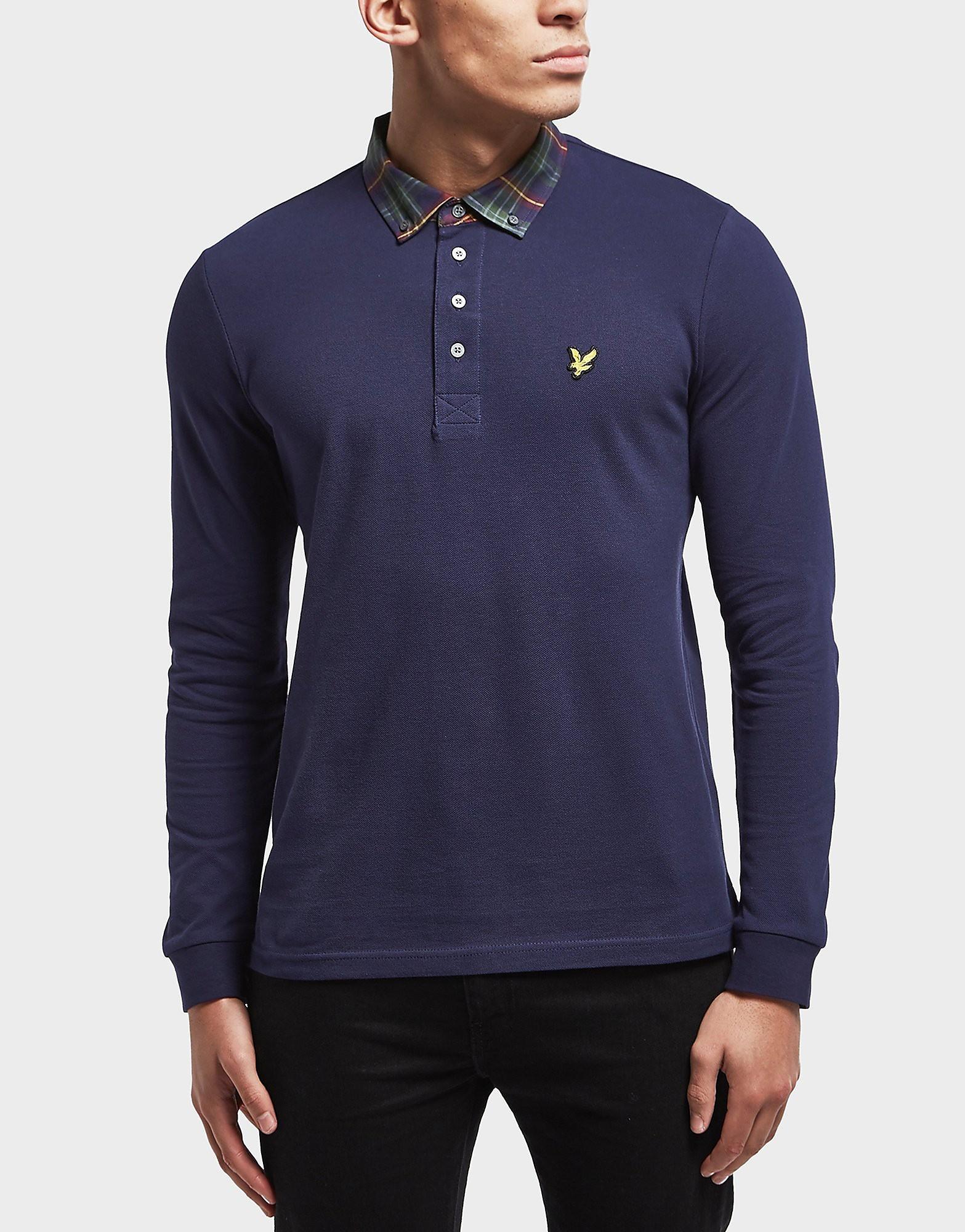 Lyle & Scott Check Collar Long Sleeve Polo Shirt - Exclusive