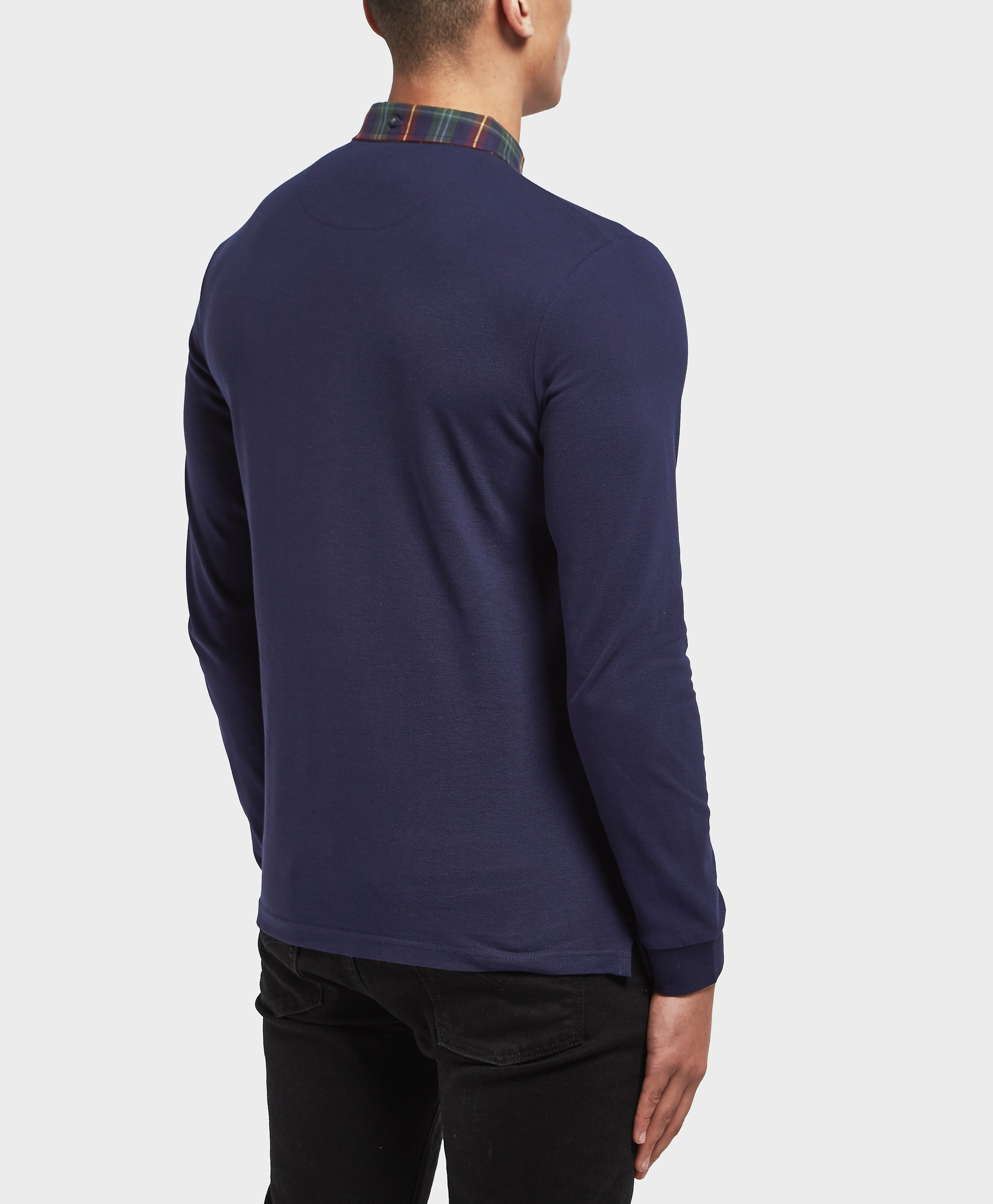 Lyle & Scott Check Collar Long Sleeve Polo Shirt - Exclusive