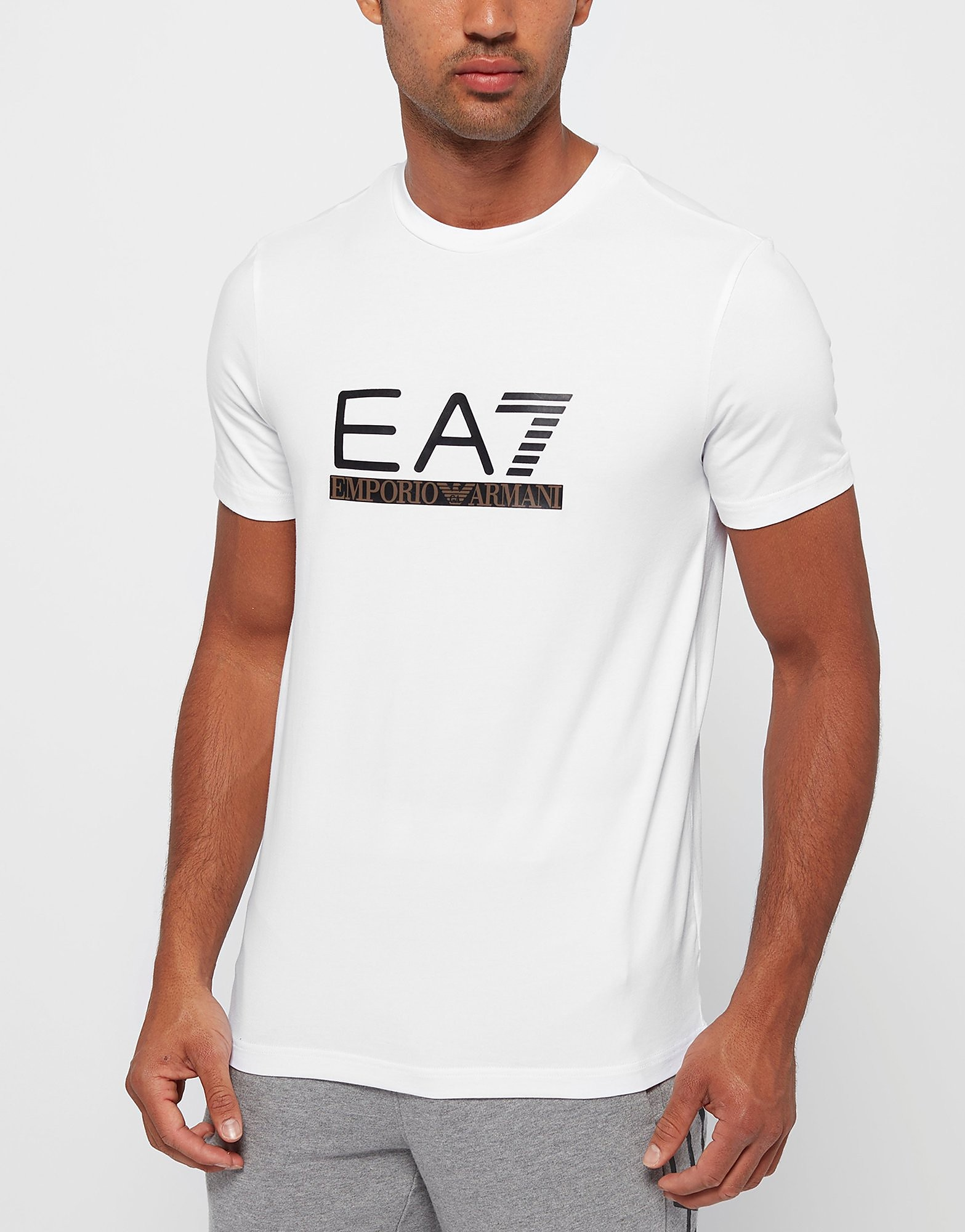 Emporio Armani EA7 Leather Logo TShirt  Exclusive  White White