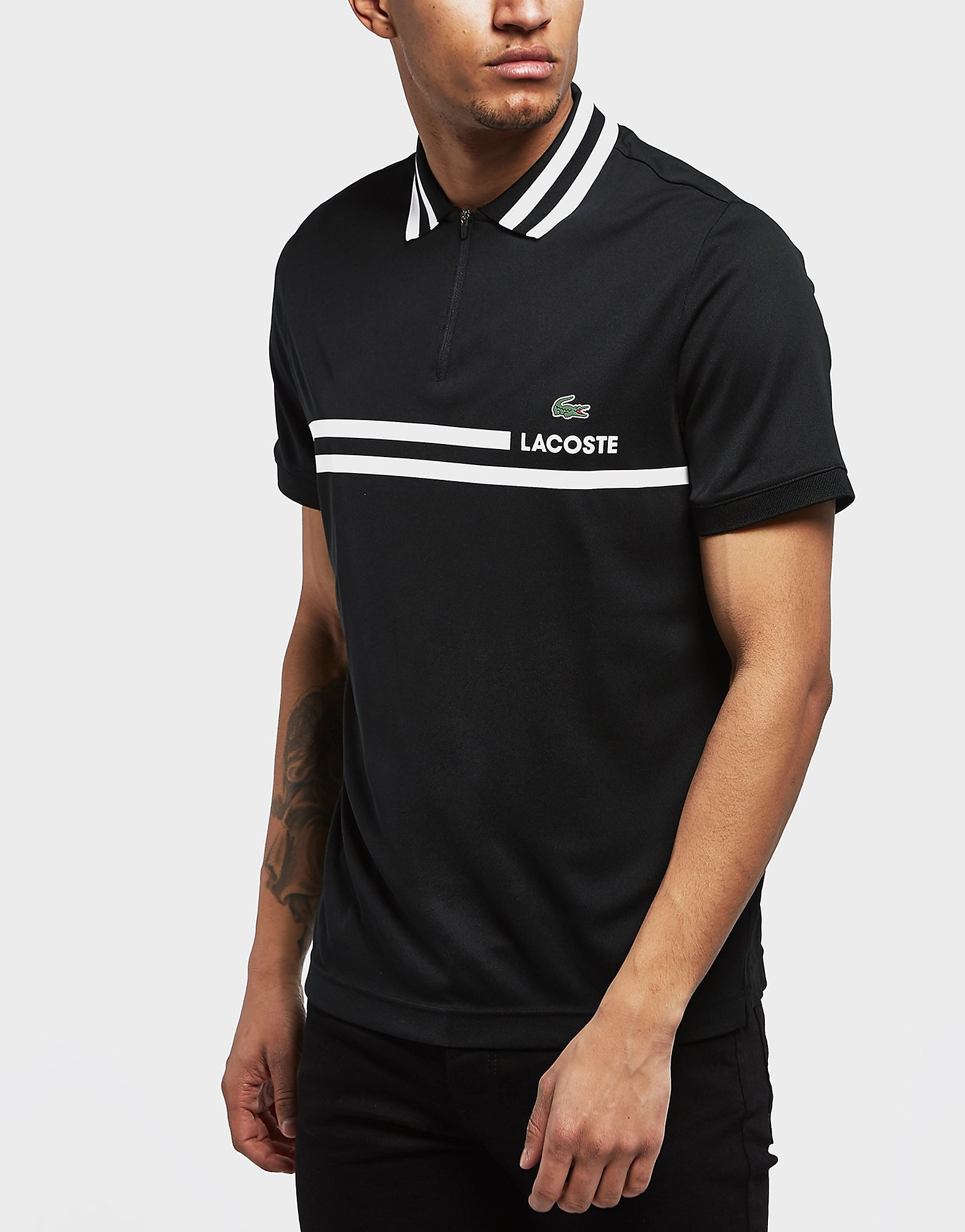 Lacoste Zip Neck Stripe Short Sleeve Polo Shirt