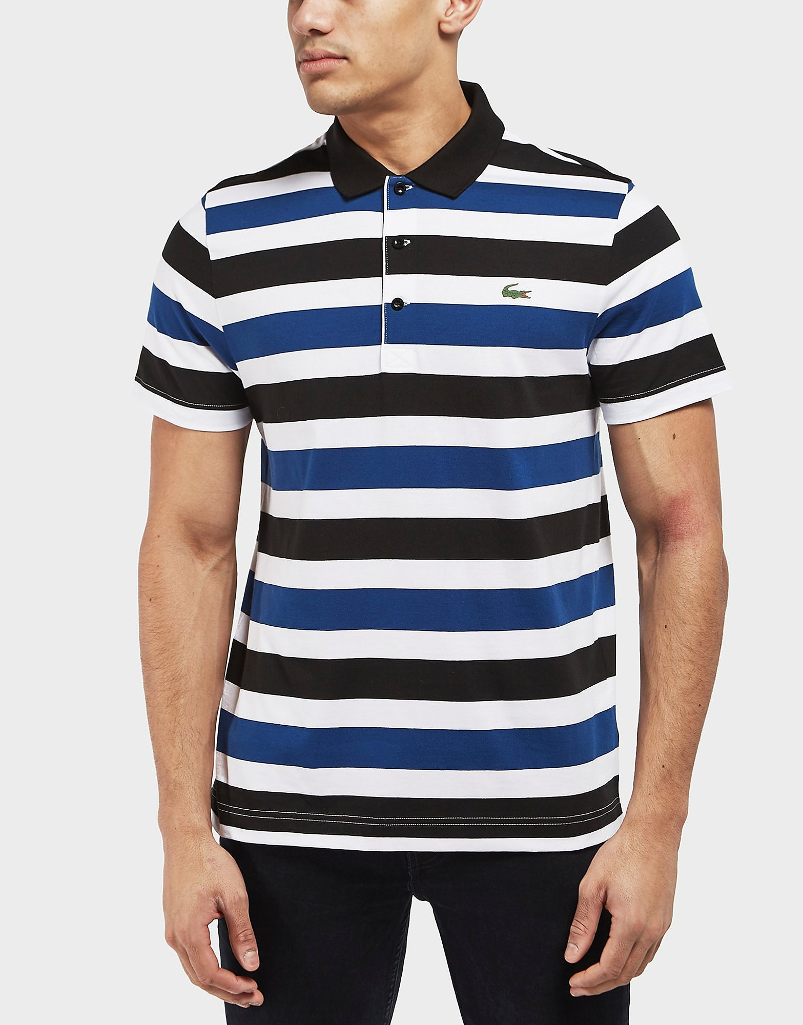 Lacoste Stripe Jersey Short Sleeve Polo Shirt