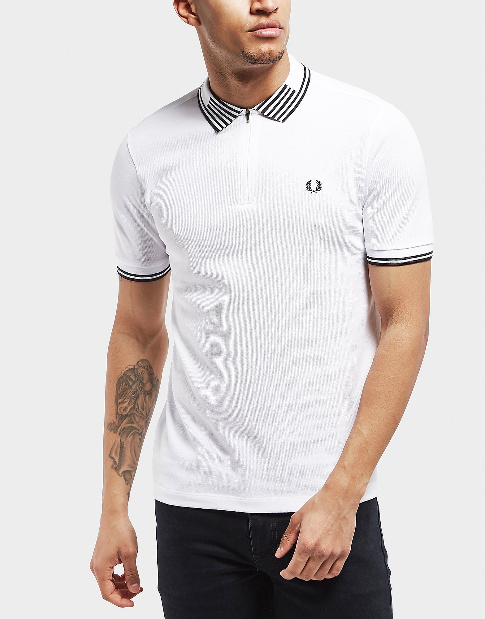 Fred Perry Stripe Zip Short Sleeve Polo Shirt - Exclusive