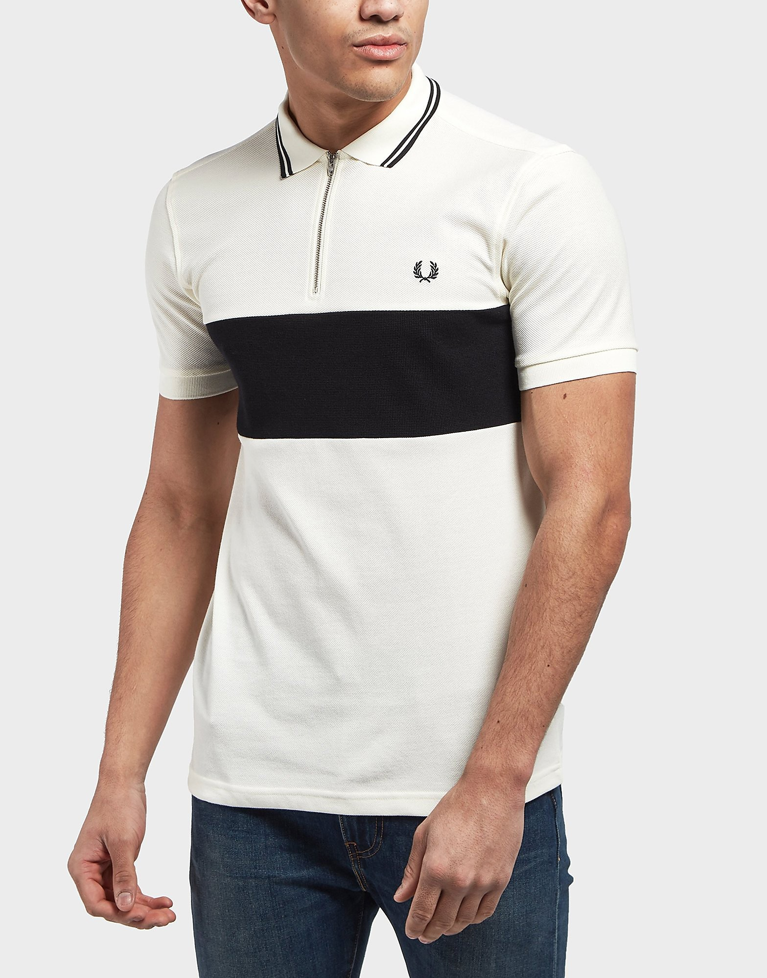 Fred Perry Textured Panel Zip Short Sleeve Polo Shirt