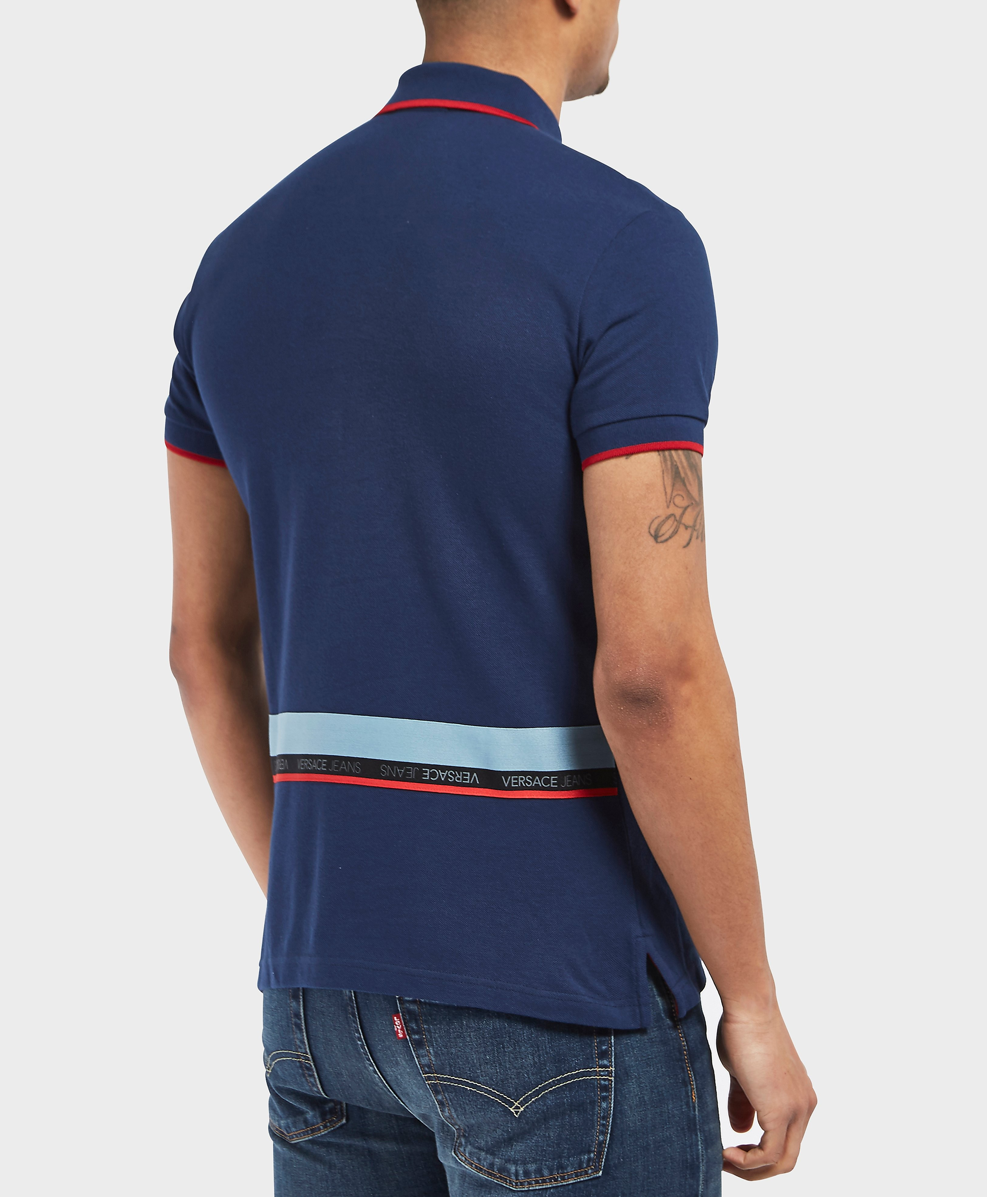 Versace Tape Tipped Short Sleeve Polo Shirt