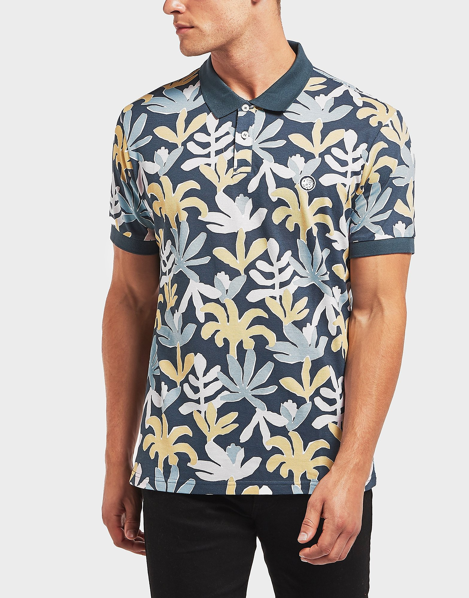 Pretty Green Leaf Pastels Short Sleeve Polo Shirt