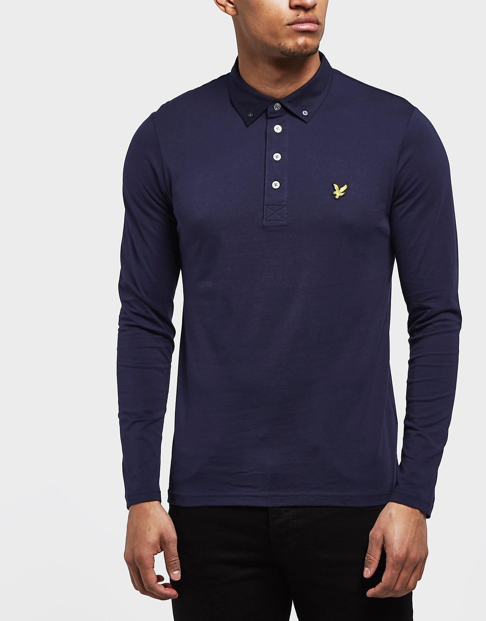 Lyle & Scott Woven Collar Long Sleeve Polo Shirt
