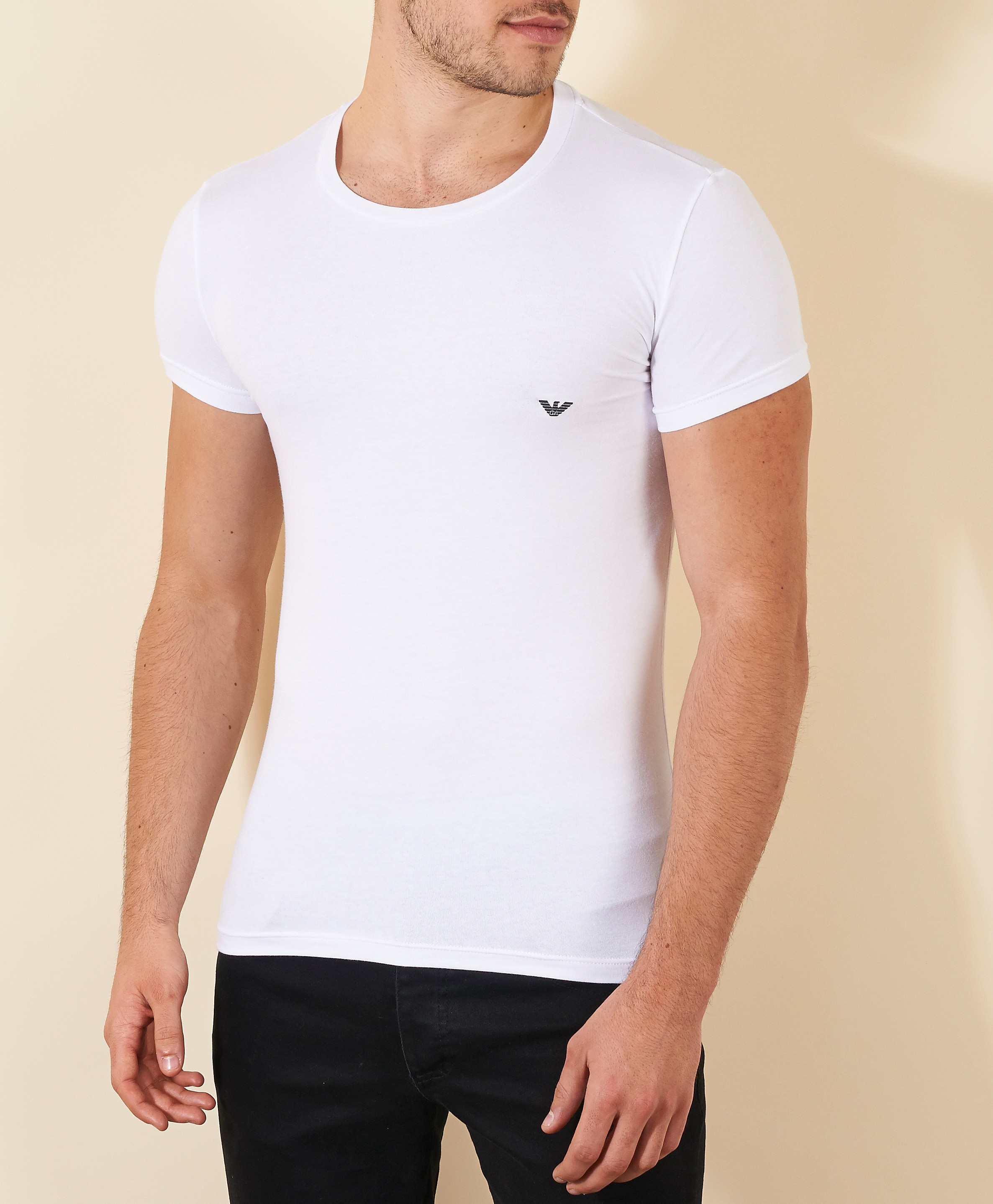 Emporio Armani Eagle Chest Crew TShirt  White White