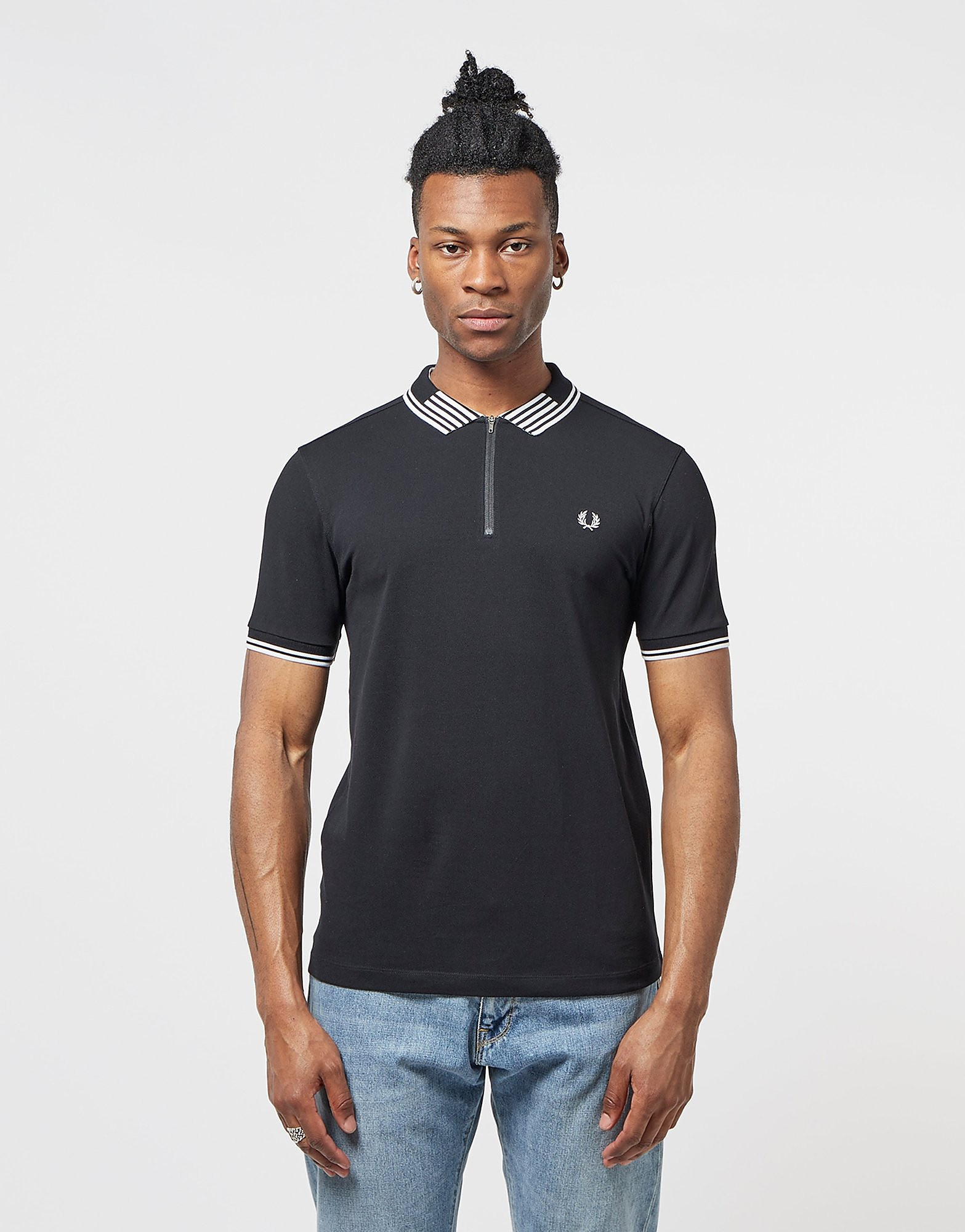 Fred Perry Stripe Collar Short Sleeve Zip Polo Shirt