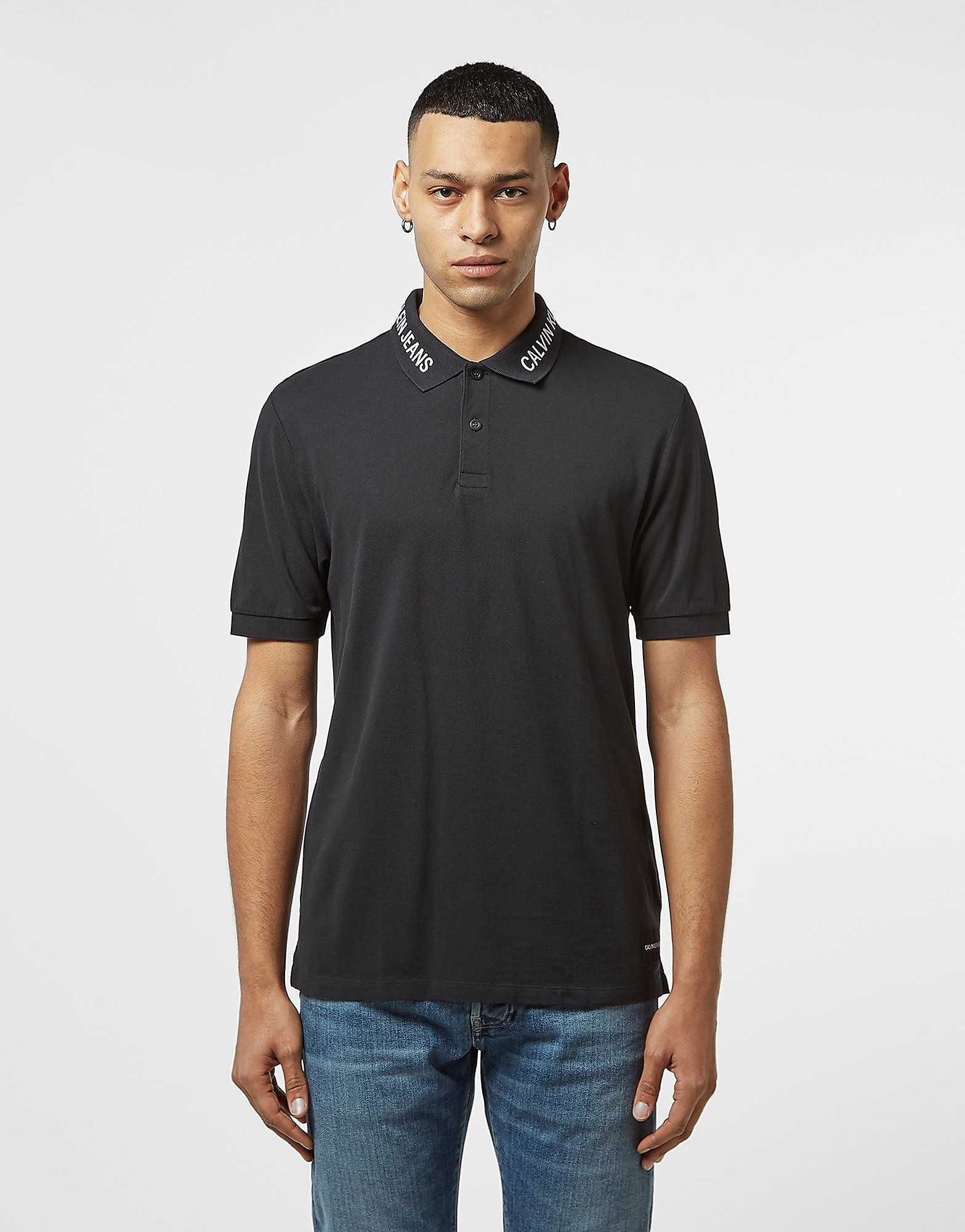 Calvin Klein Branded Collar Short Sleeve Polo Shirt