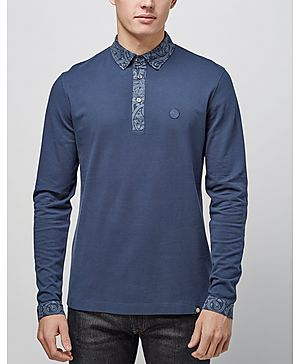 Pretty Green Paisley Long Sleeved Polo Shirt