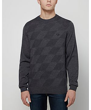 Fred Perry Textured Argyle Crew Knit