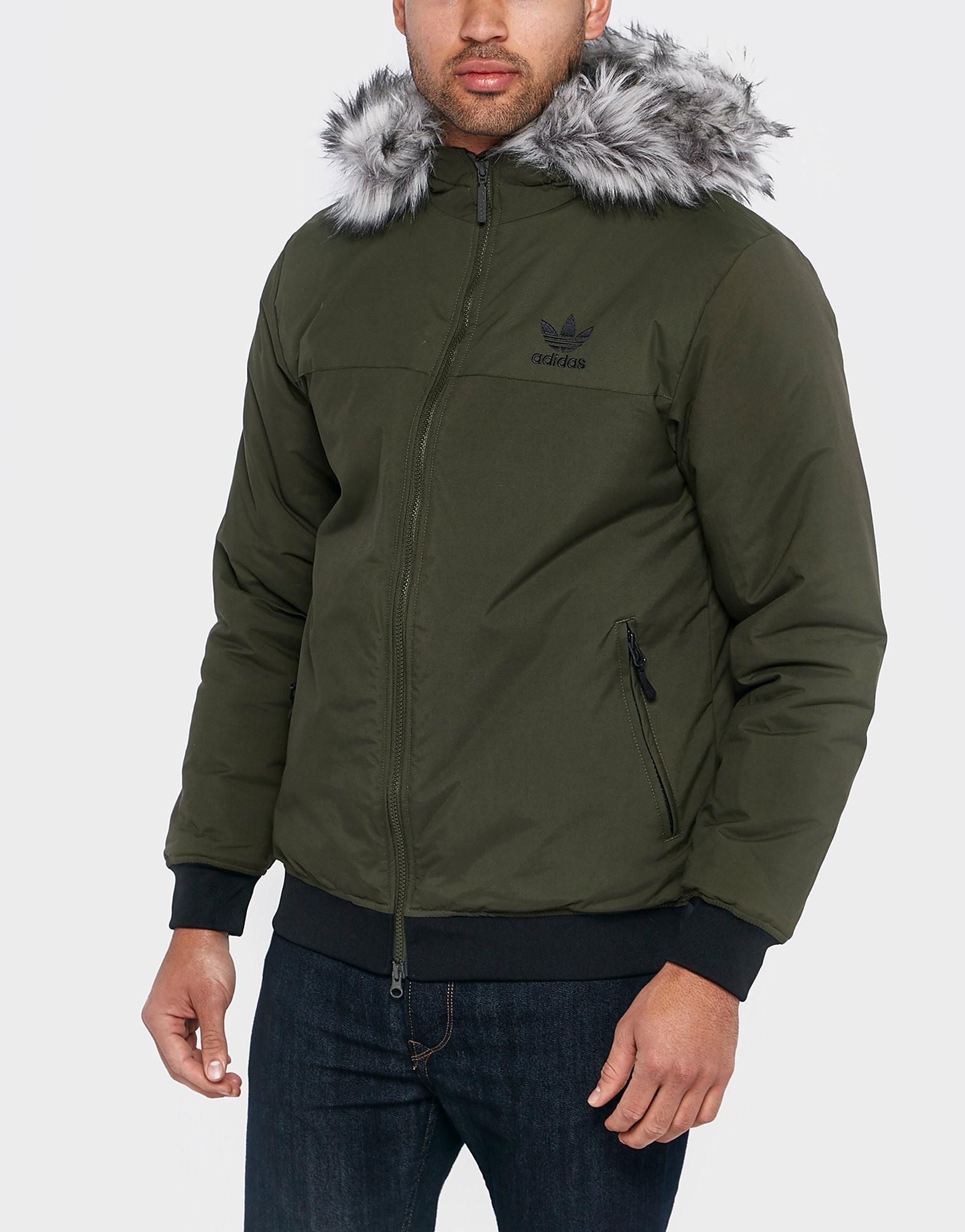 adidas Originals Trefoil Fur Parka Jacket  Khaki Khaki