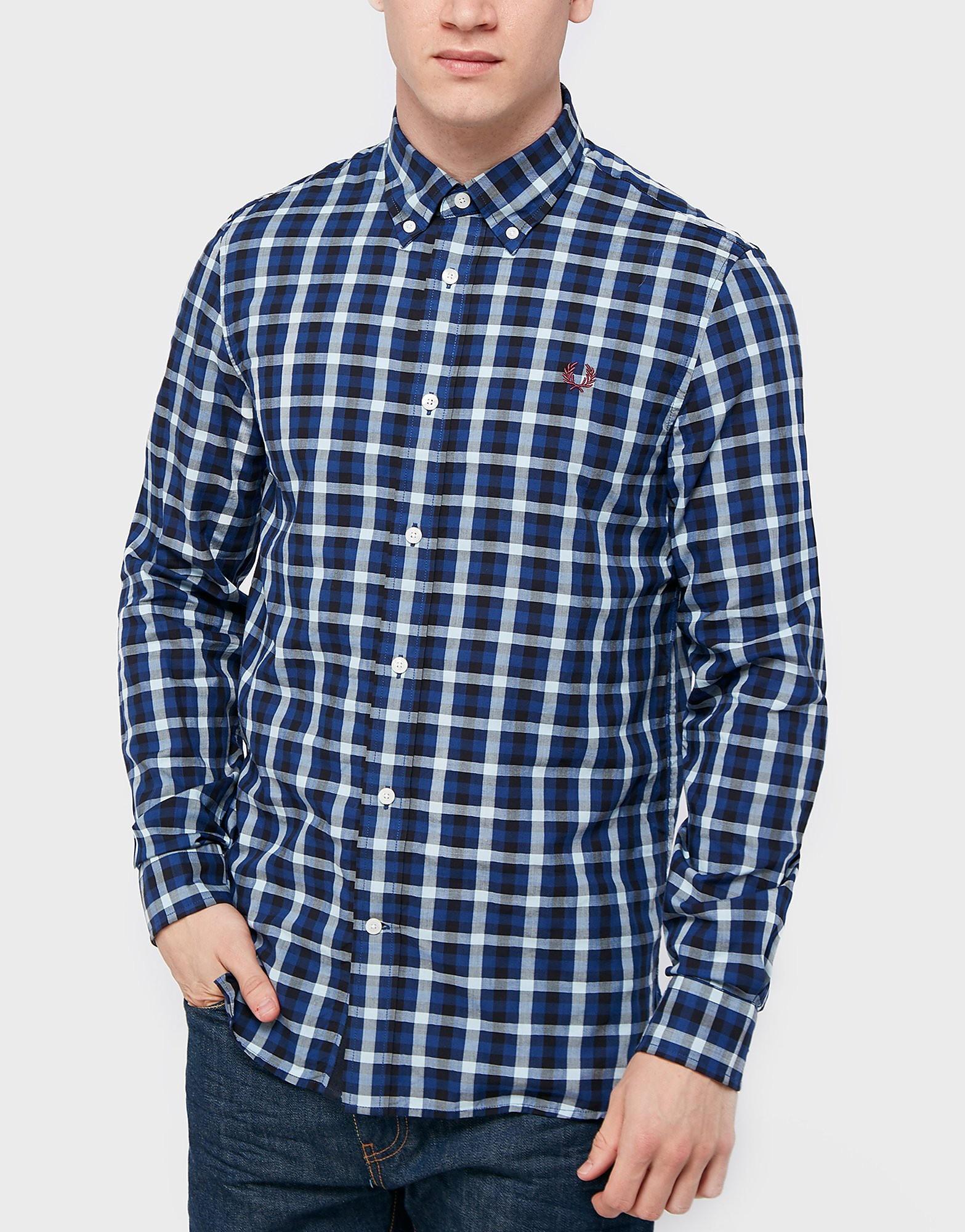 Fred Perry Herringbone Gingham Shirt  Mid Blue Mid Blue
