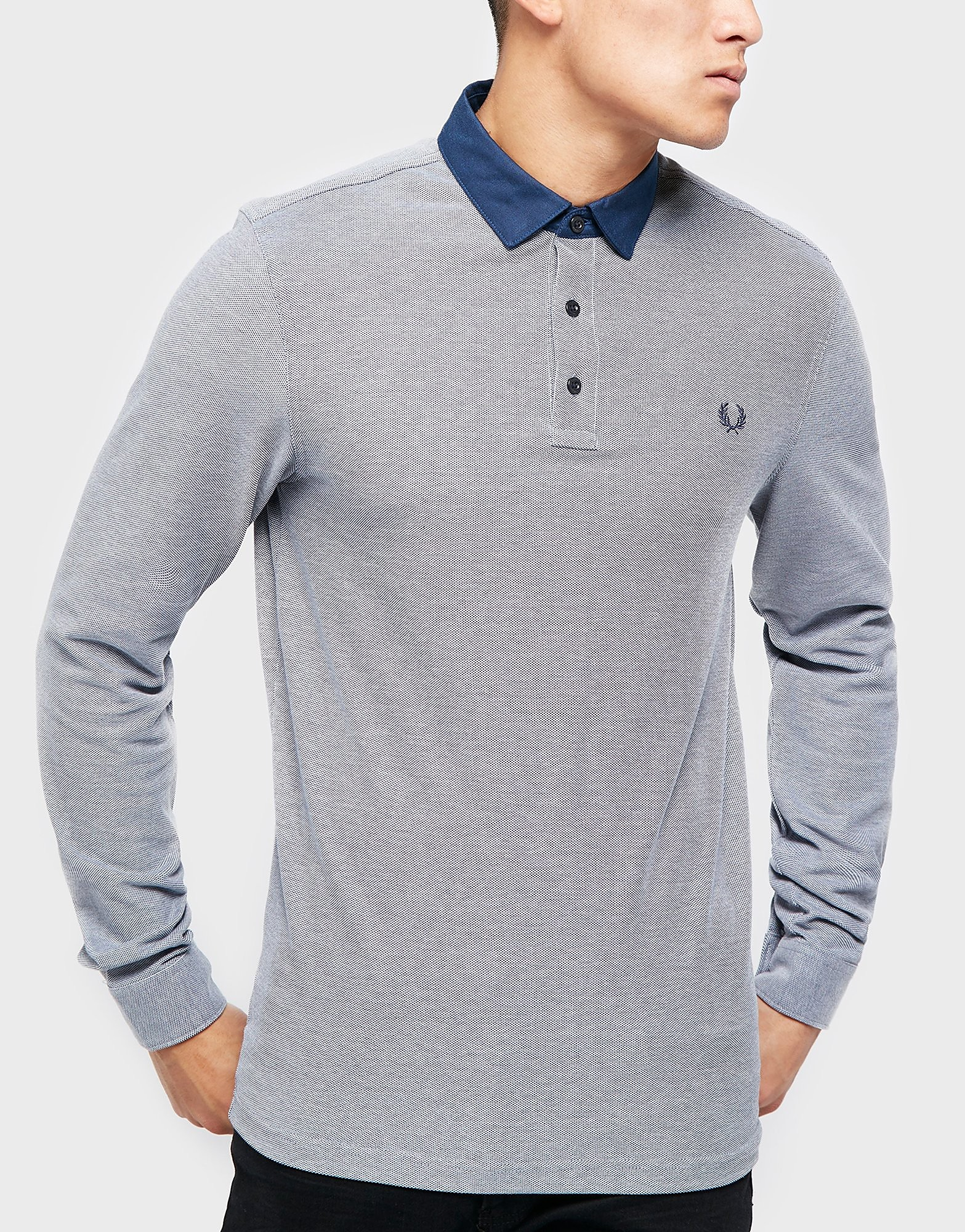 Fred Perry Oxford Collar Long Sleeve Polo Shirt  Blue Blue
