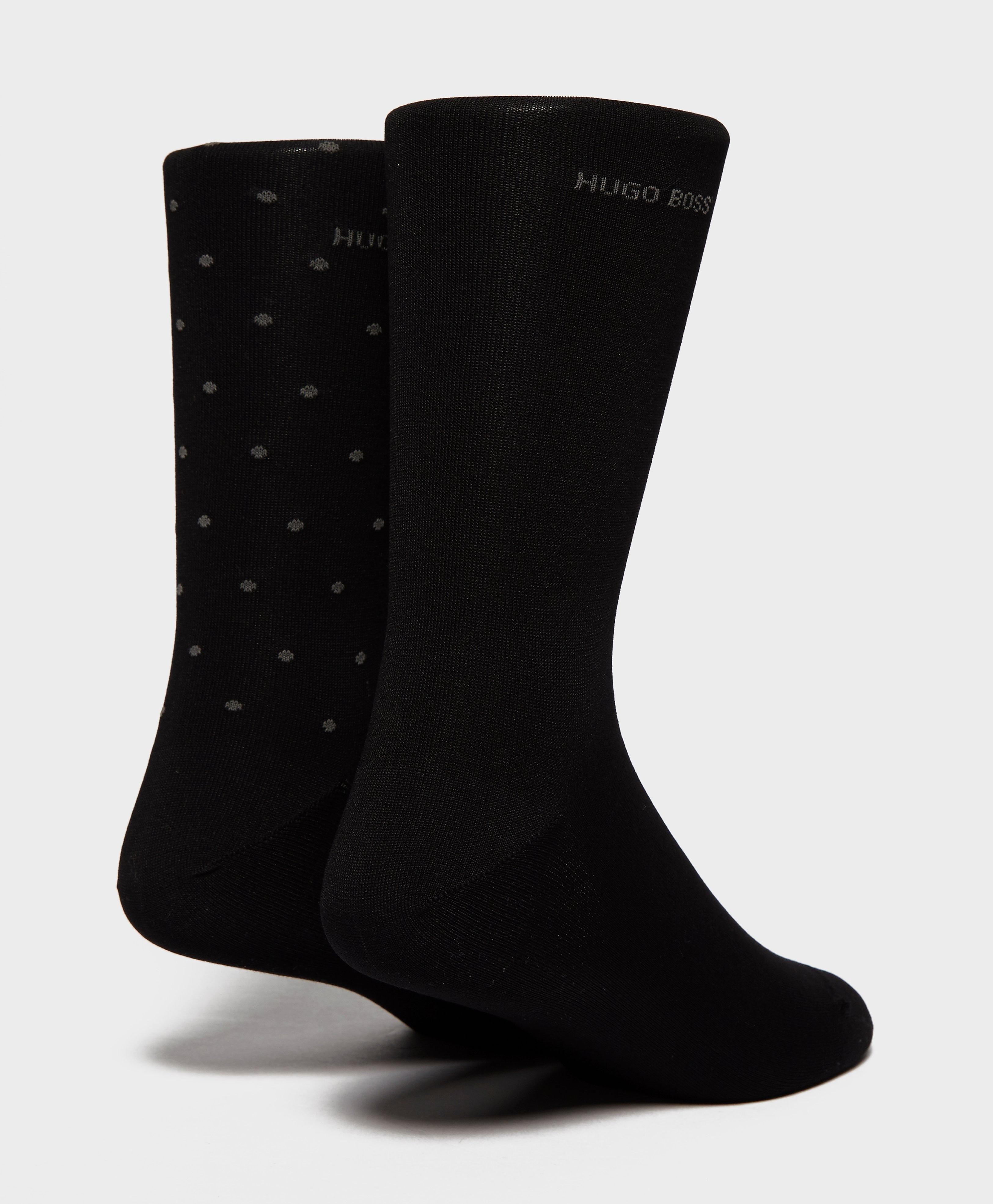 BOSS 2 Pack Polka Dot Plain Socks