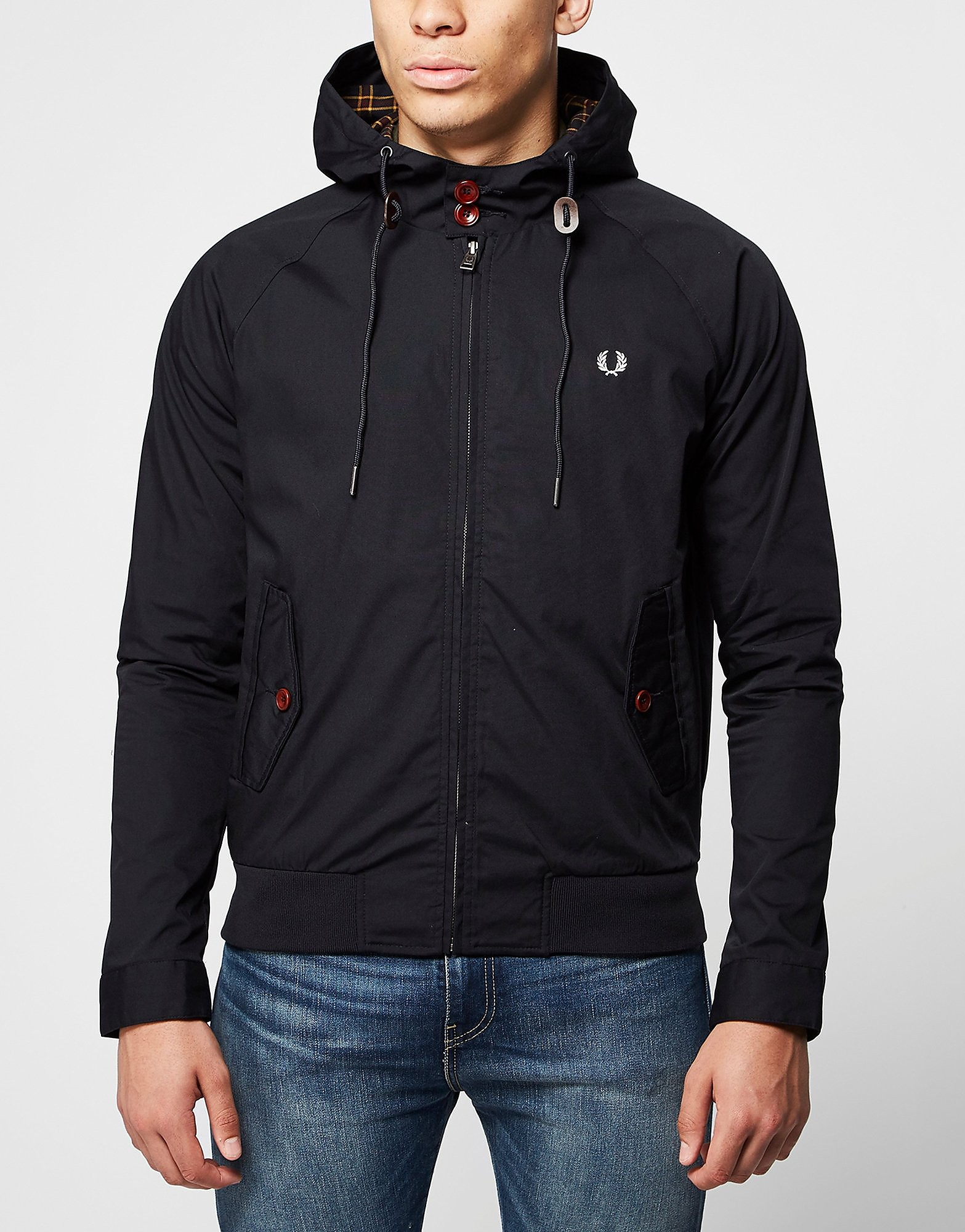 Fred Perry Hooded Harrington Jacket  Blue Blue