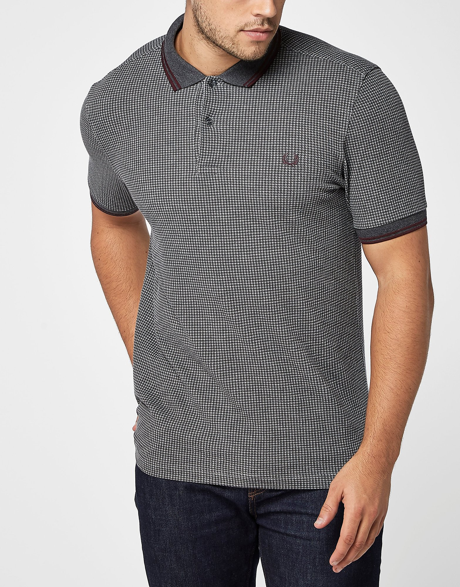 Fred Perry Houndstooth Polo SHirt  Grey Grey