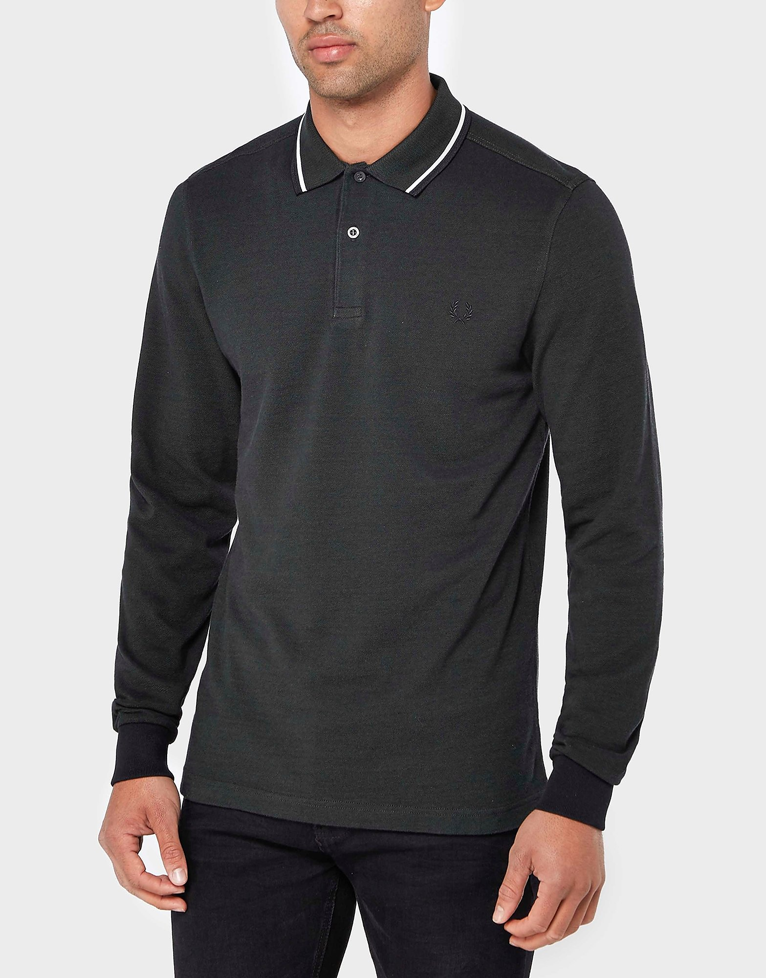 Fred Perry Twin Tip Long Sleeve Polo Shirt  GreyGrey GreyGrey