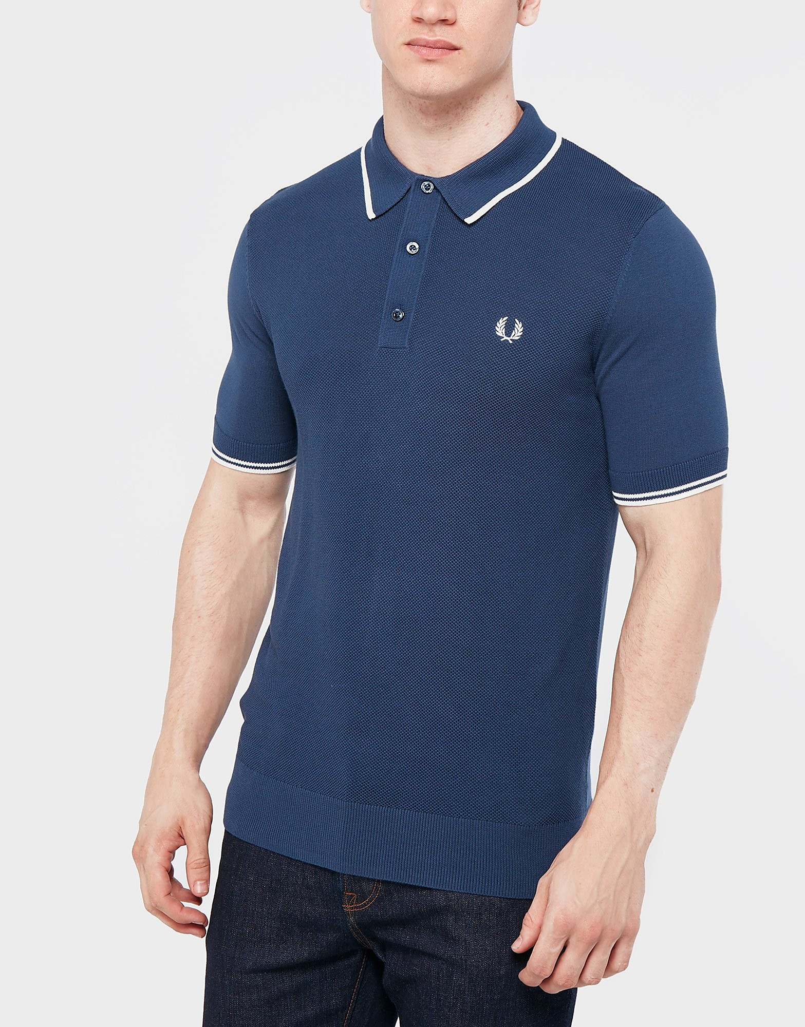 Fred Perry Knitted Polo Shirt  Blue Blue
