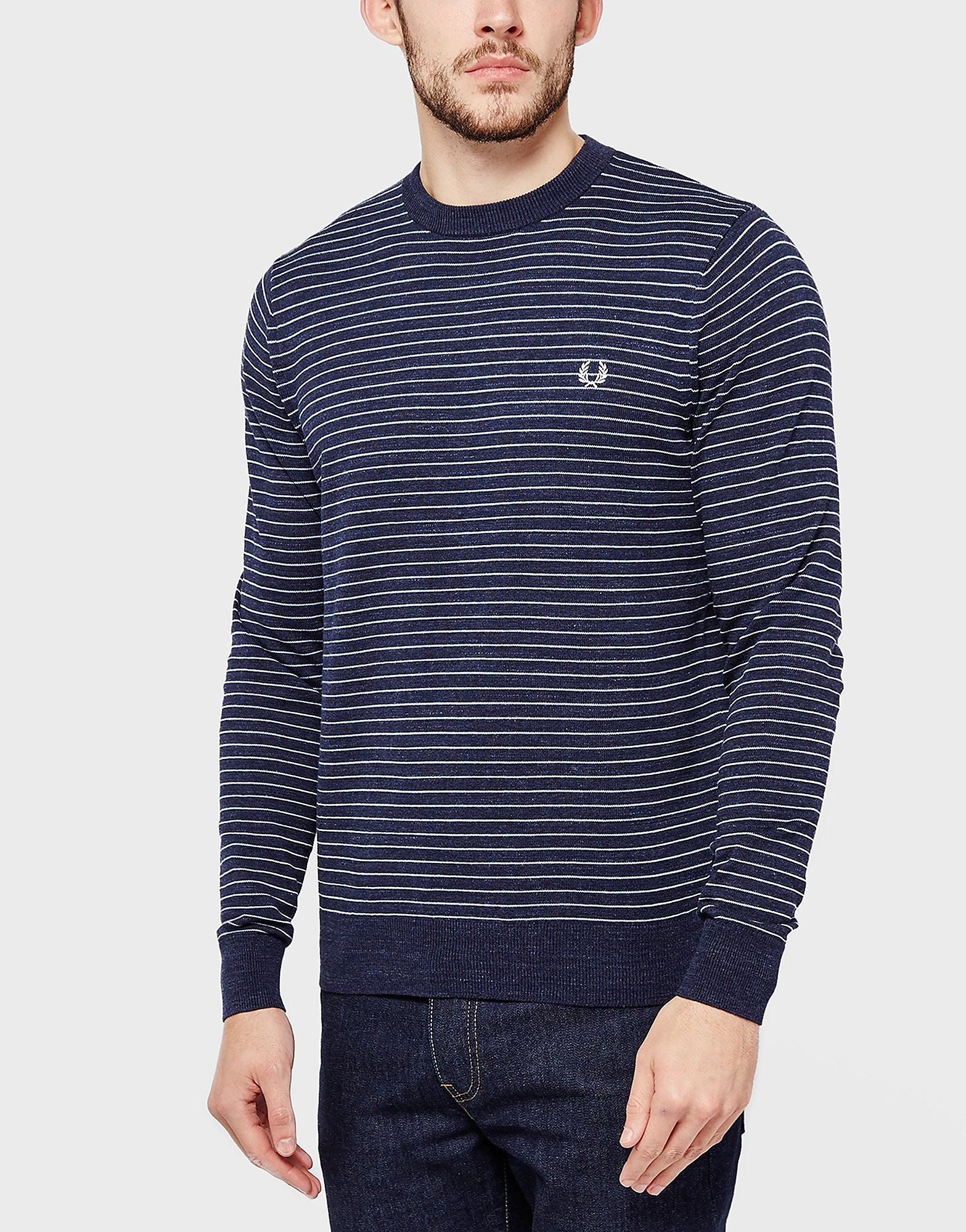 Fred Perry Striped Crew Sweatshirt  Navy Navy