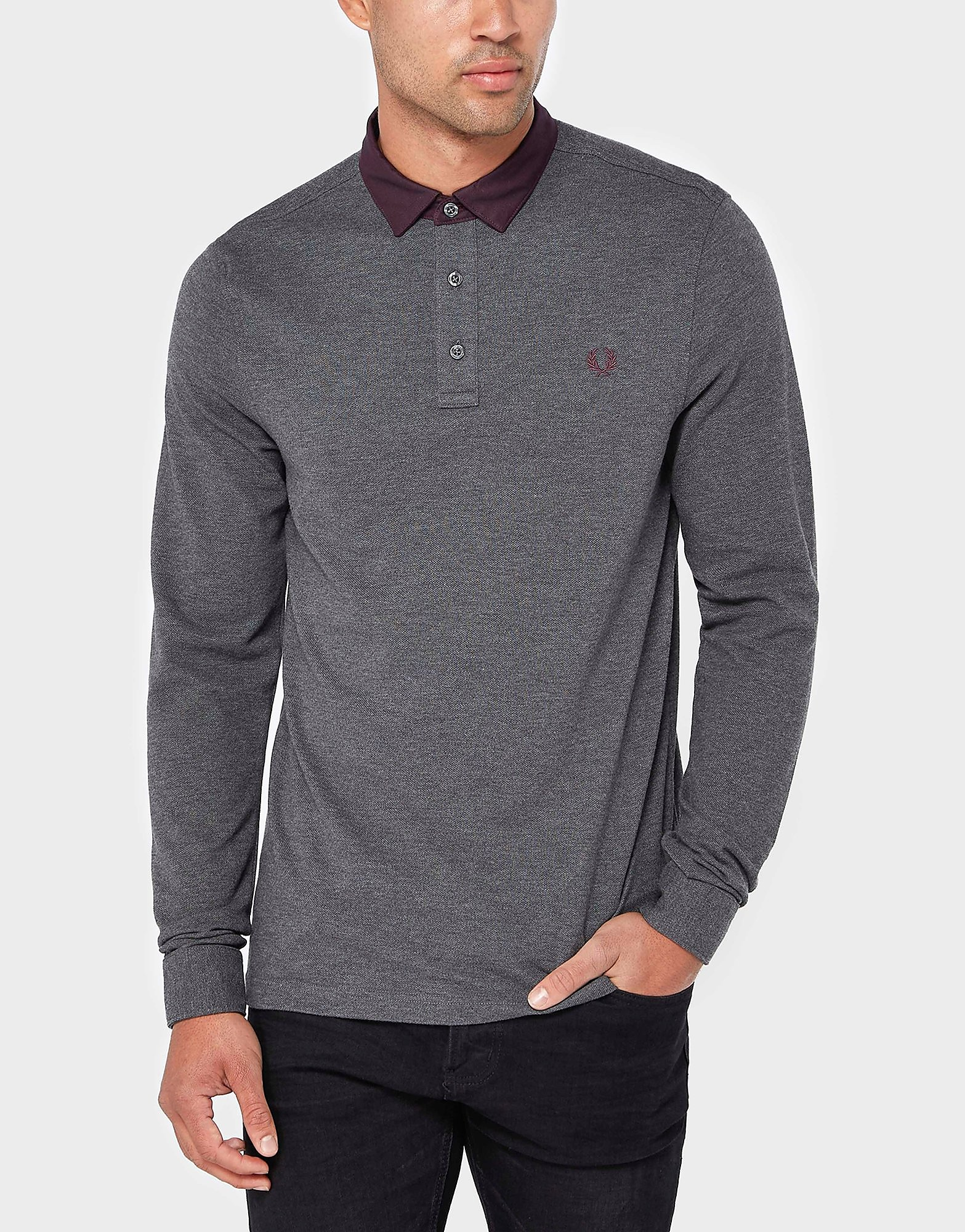 Fred Perry Long Sleeve Oxford Polo Shirt  CharcoalCharcoal CharcoalCharcoal