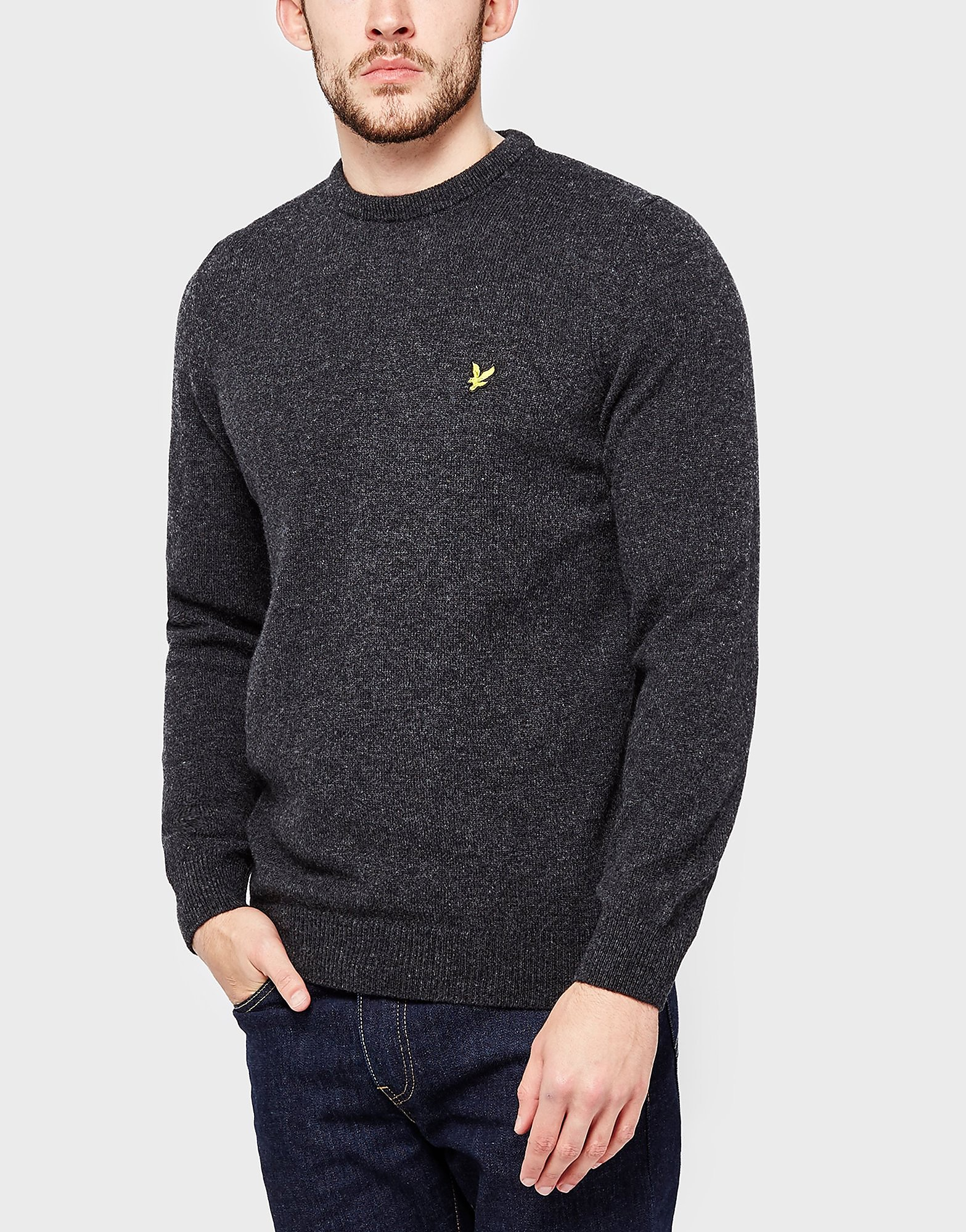 Lyle & Scott Lambswool Crew Knit  Charcoal Charcoal