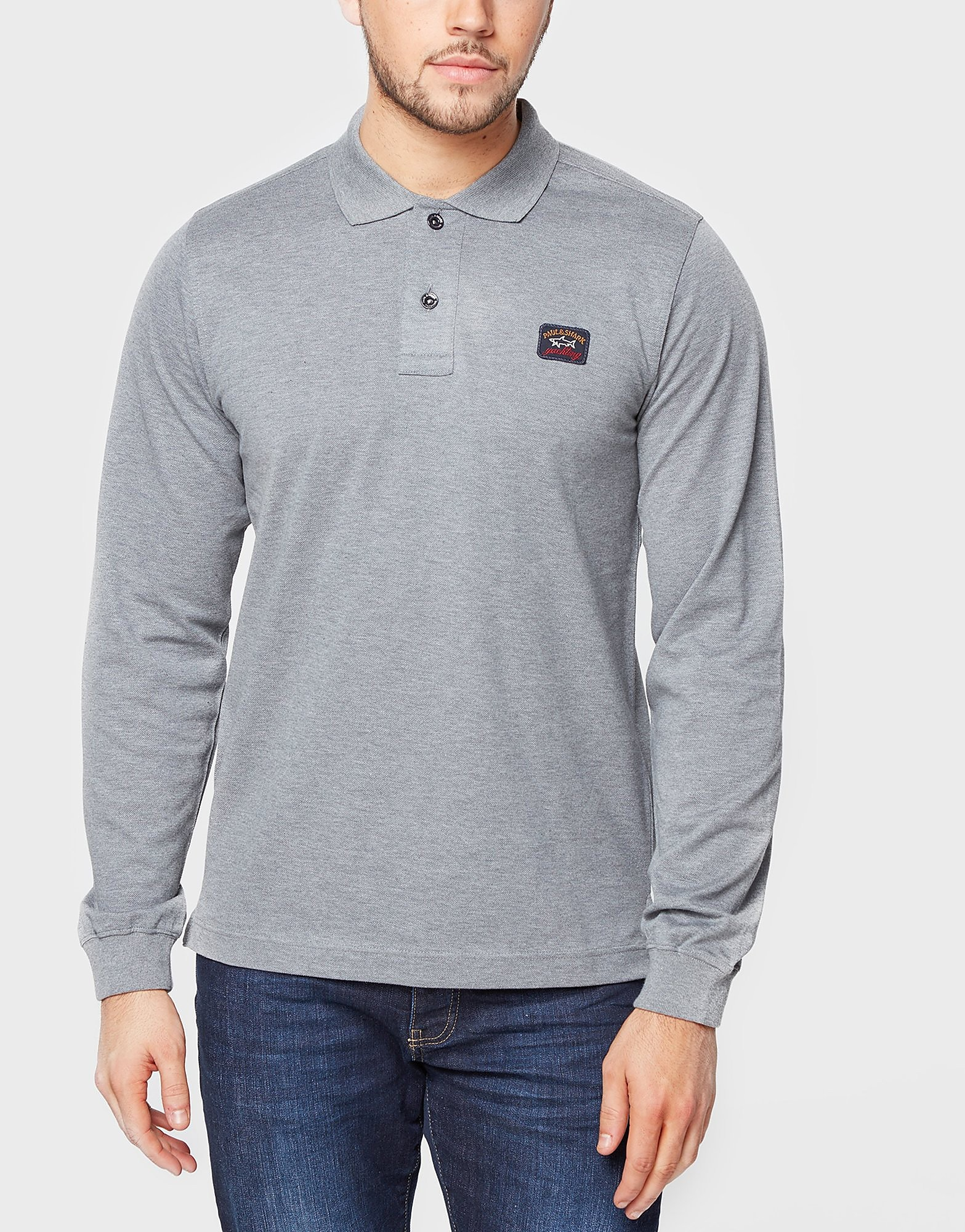 Paul and Shark Long Sleeve Pique Polo Shirt
