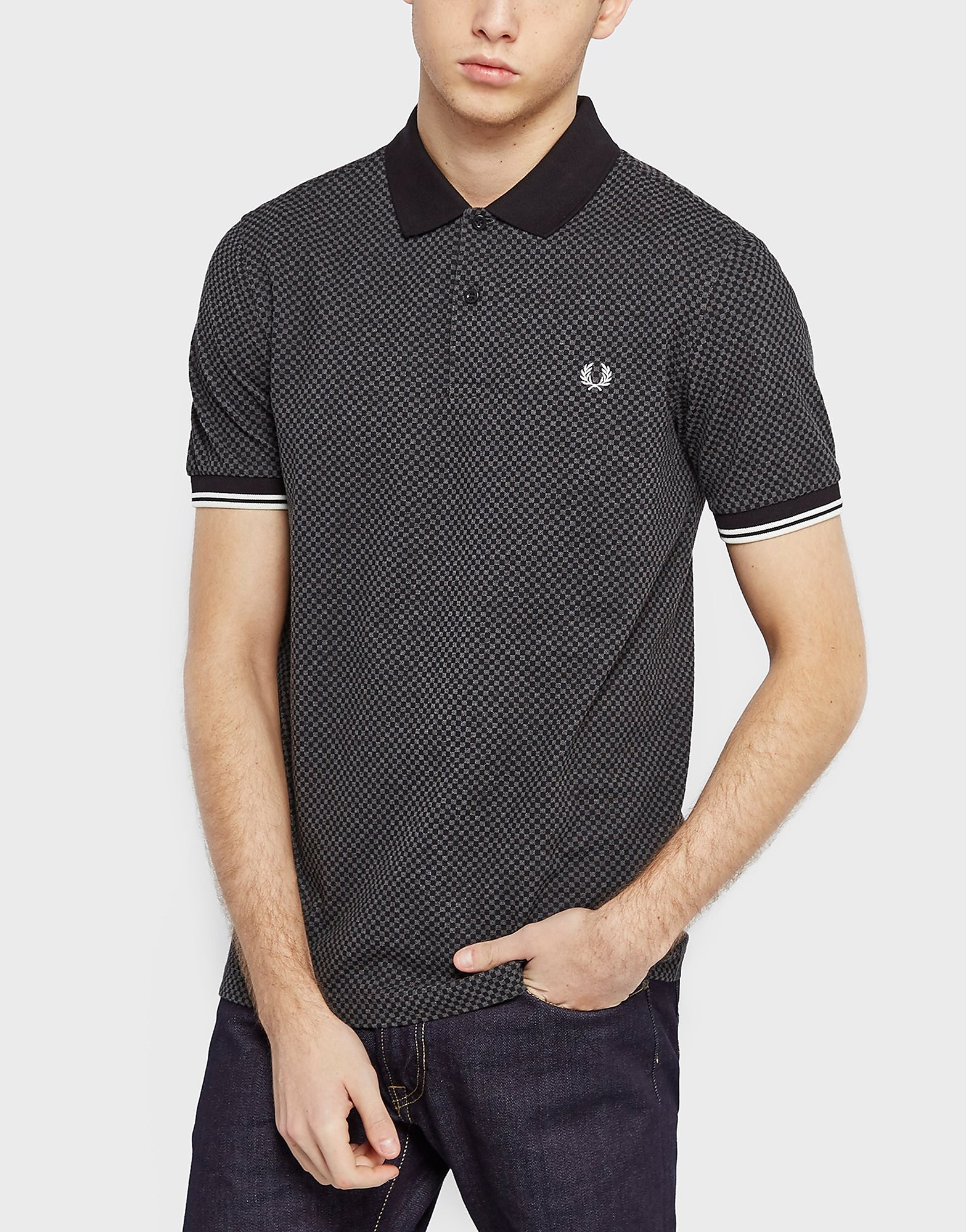 Fred Perry Checkerboard Polo Shirt  Dark Grey Dark Grey