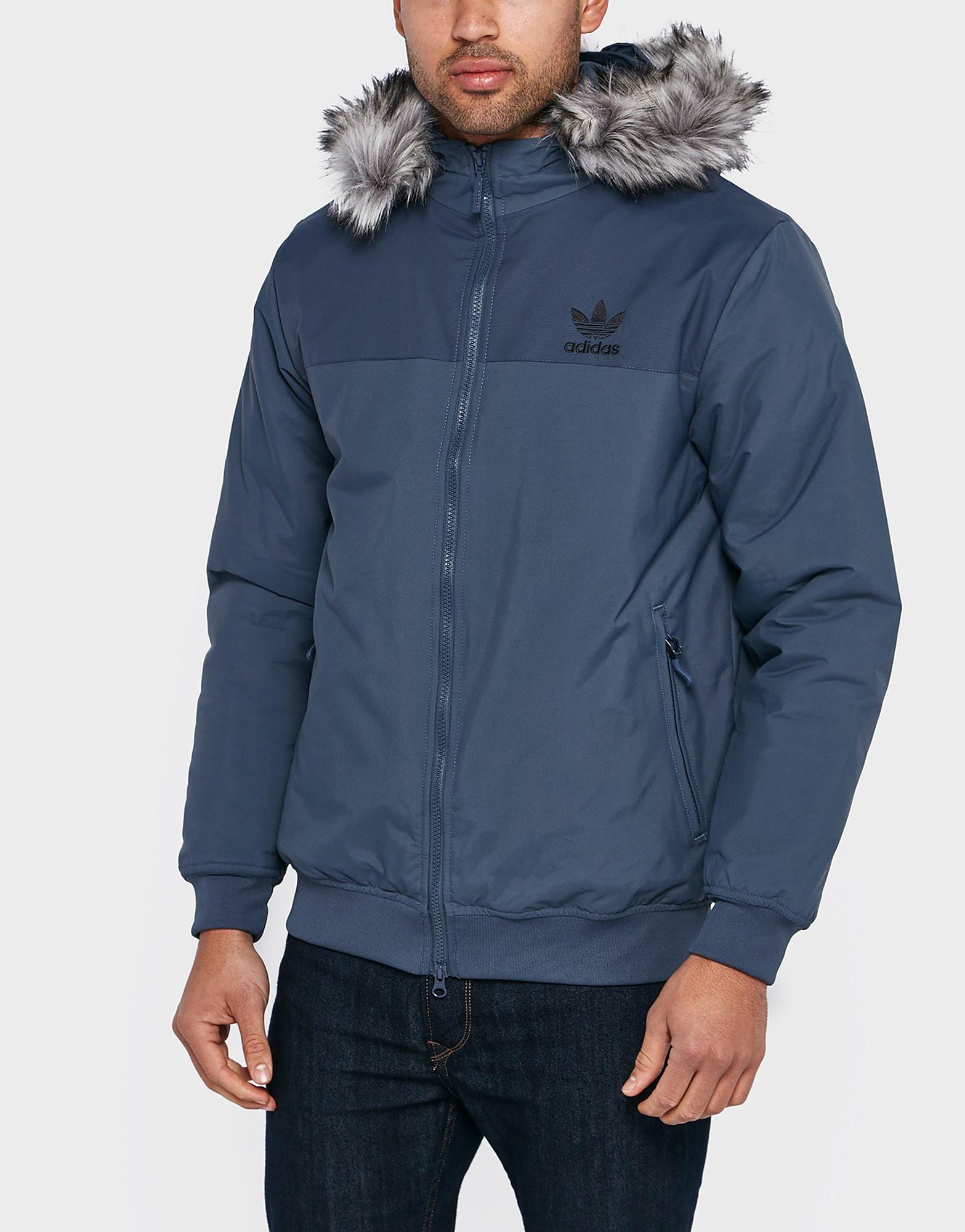 adidas Originals Trefoil Fur Parka  Blue Blue