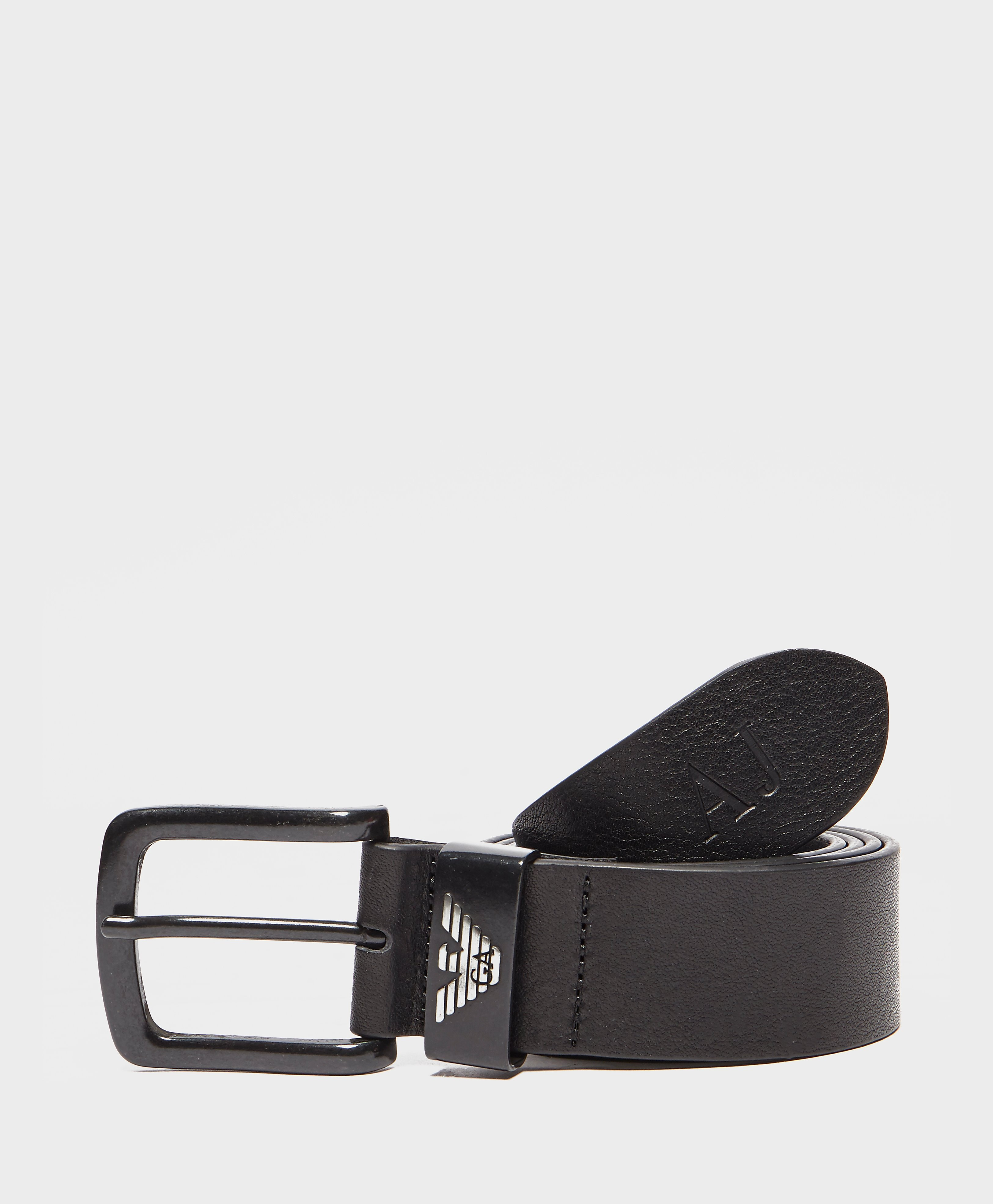 Armani Jeans Leather Belt Set  Black Black