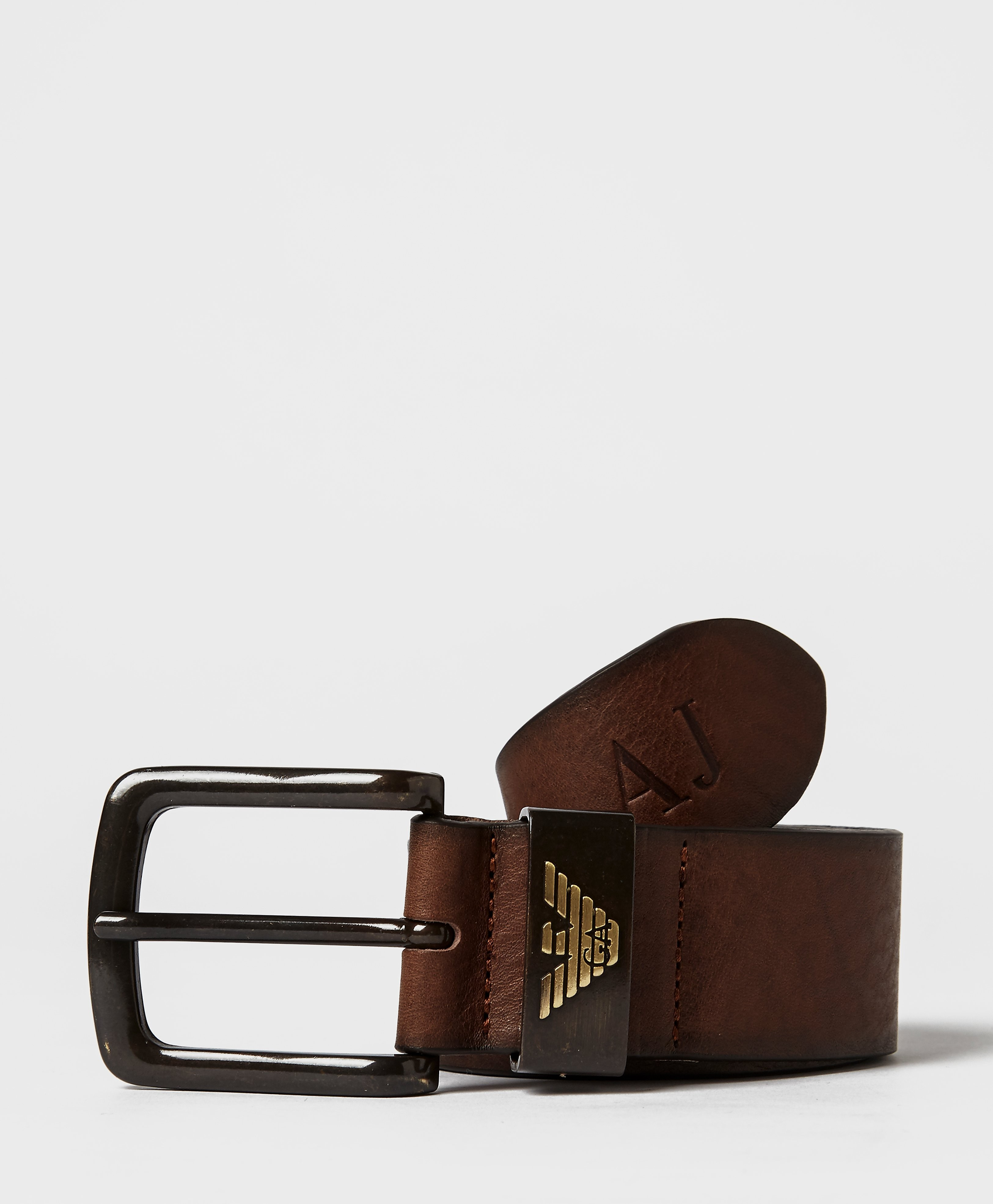 Armani Jeans Leather Eagle Belt  Brown Brown