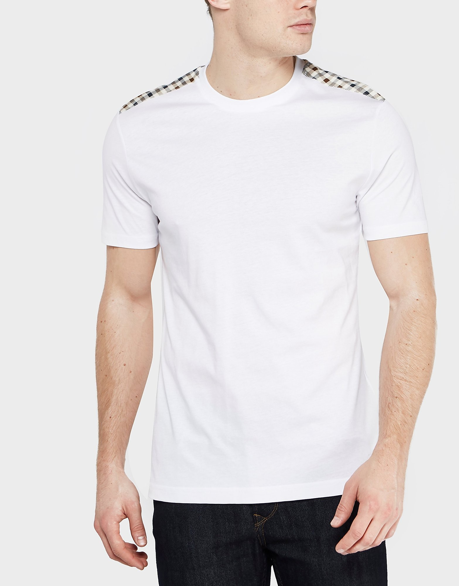 Aquascutum Check Shoulder Short Sleeve T-Shirt