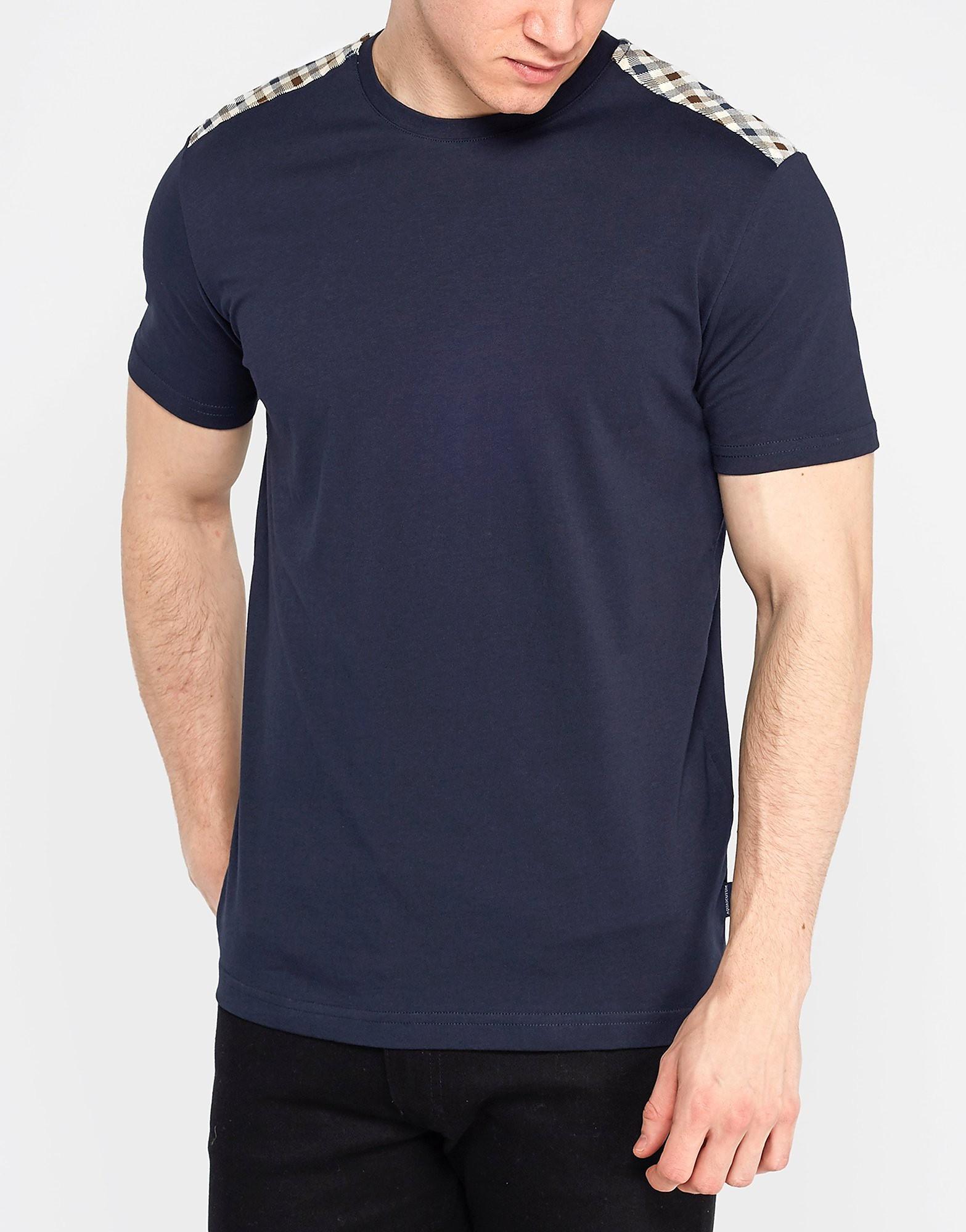 Aquascutum Check Shoulder T-Shirt