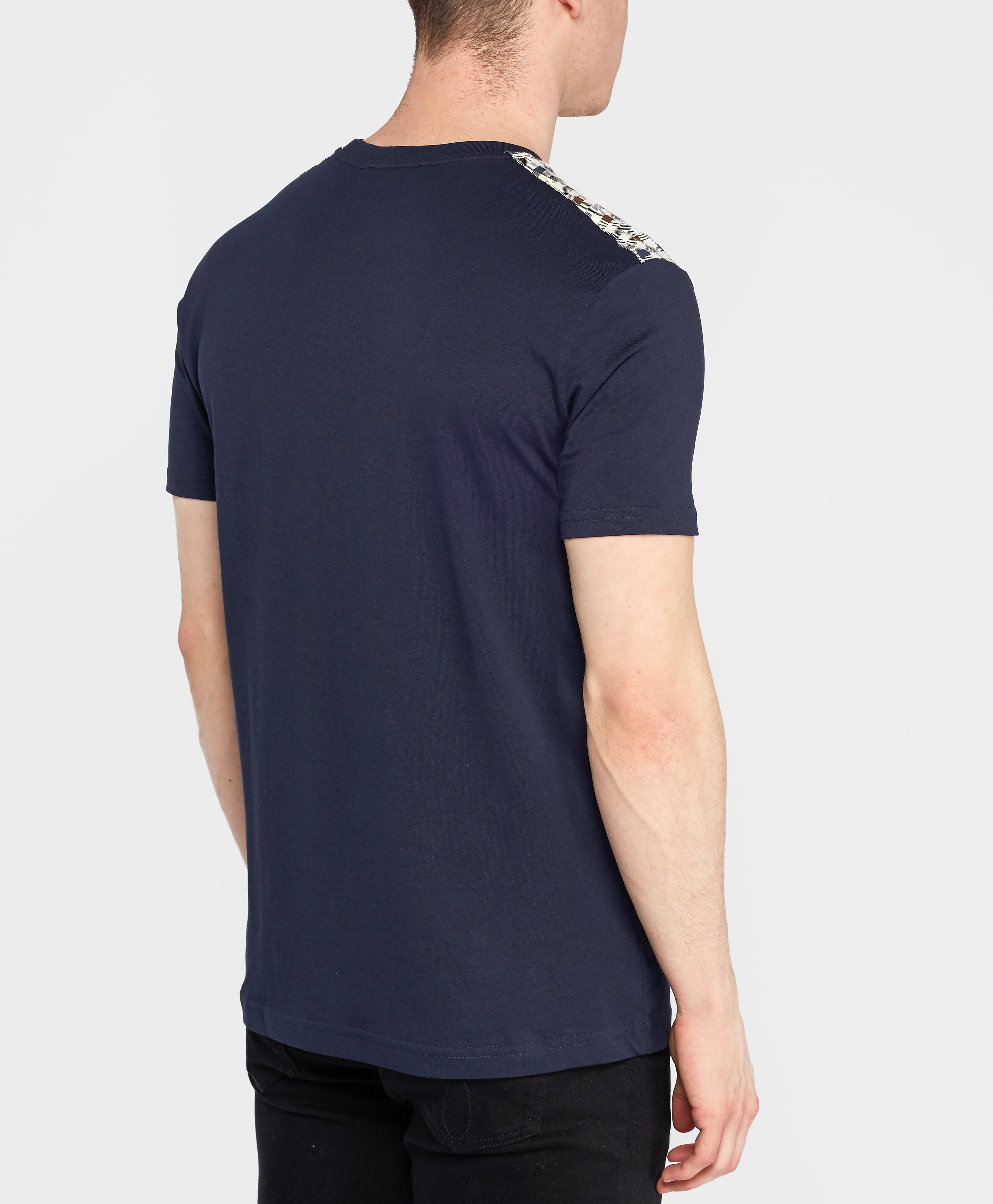 Aquascutum Check Shoulder Short Sleeve T-Shirt