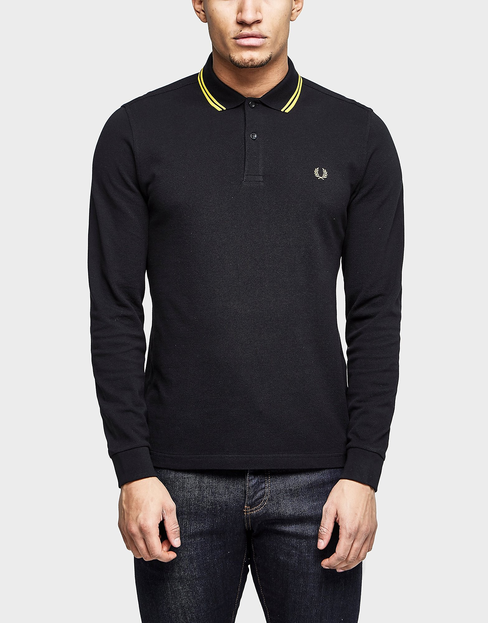 Fred Perry Long Sleeve Polo Shirt  Exclusive  Black Black