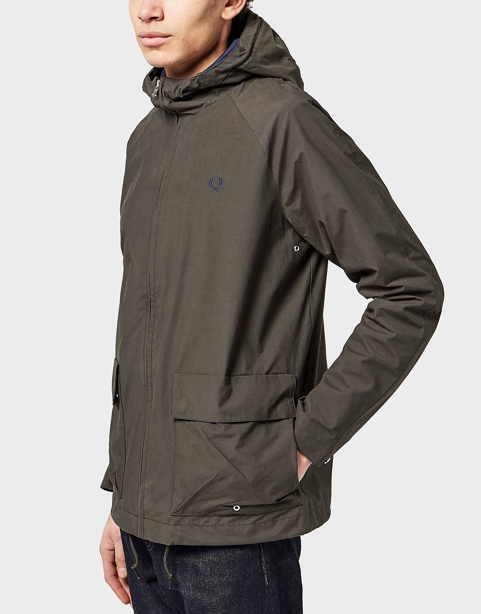 Fred Perry Hooded Field Lightweight Jacket  Olive Olive