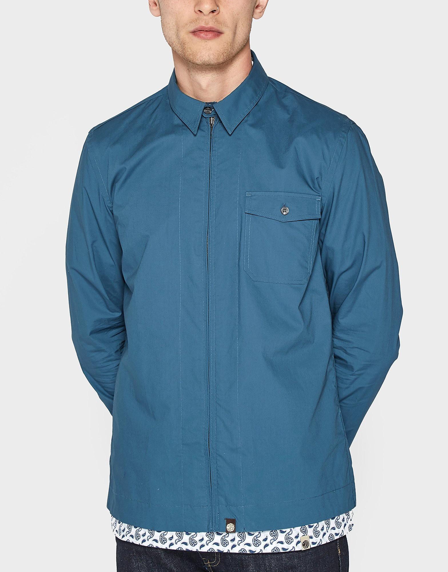 Pretty Green Zip Teal Long Sleeve Shirt - Exclusive