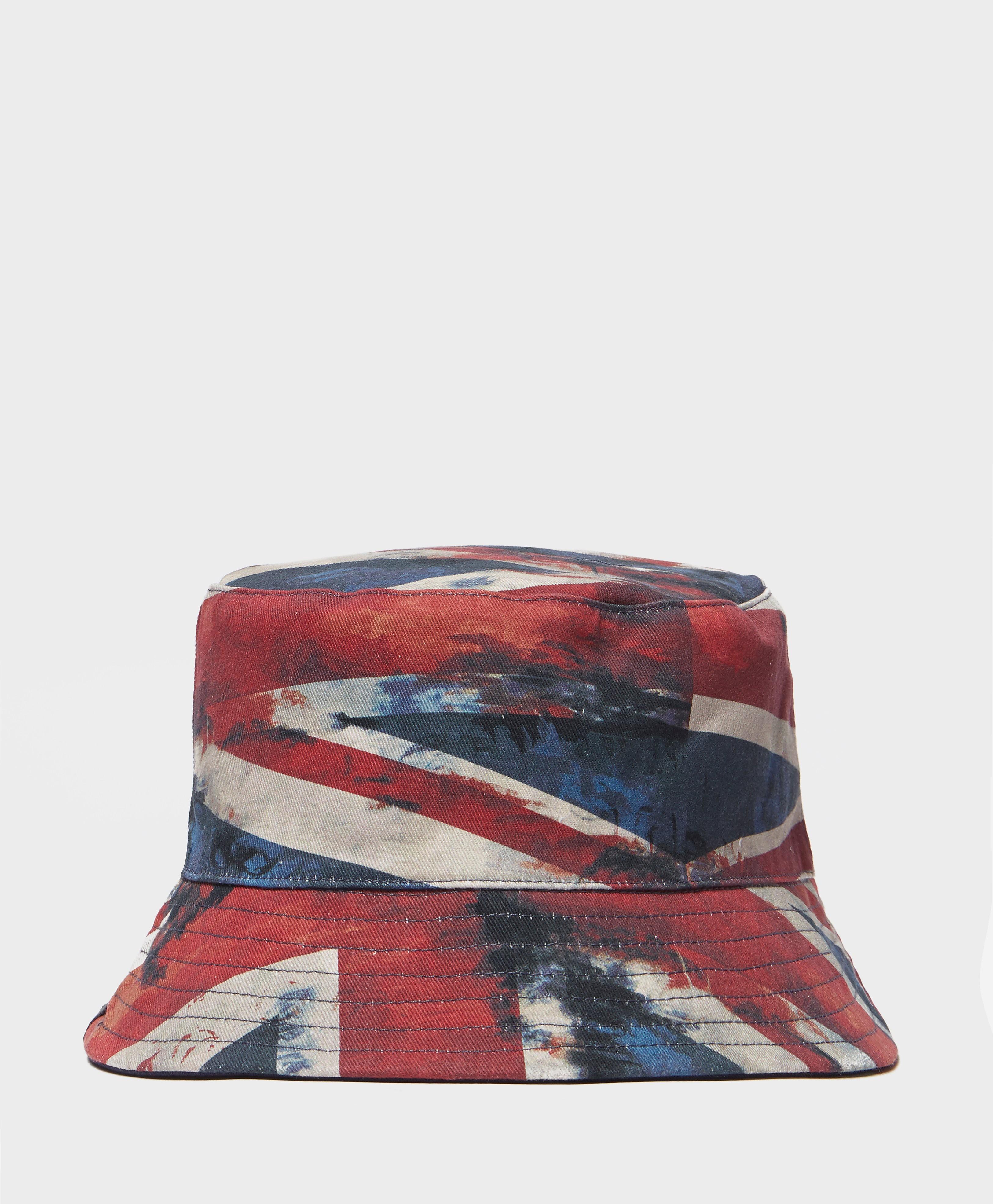 Pretty Green Union Jack Bucket Hat  NavyRed NavyRed